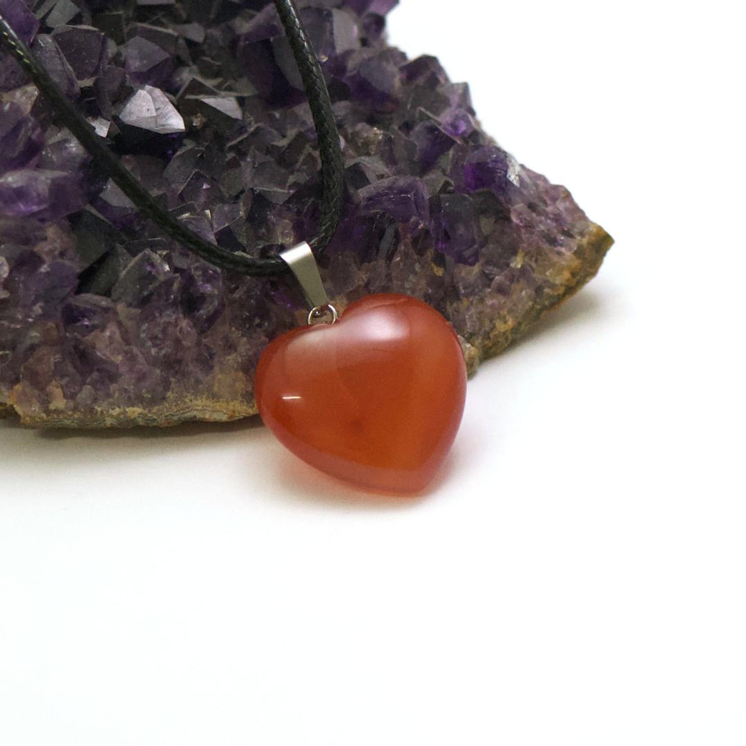 1 pendentif pierre naturelle coeur24x24 mm, cornaline
