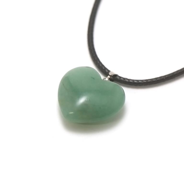 1 pendentif pierre naturelle coeur 24x24 mm, aventurine