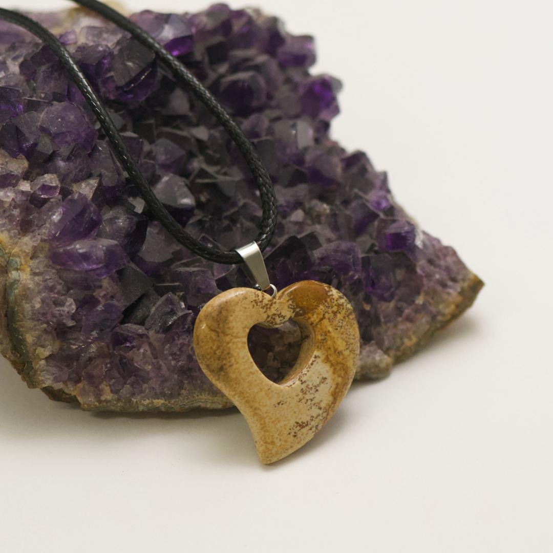 1 pendentif pierre naturelle coeur silhouette 30x30x6 mm, jaspe paysage