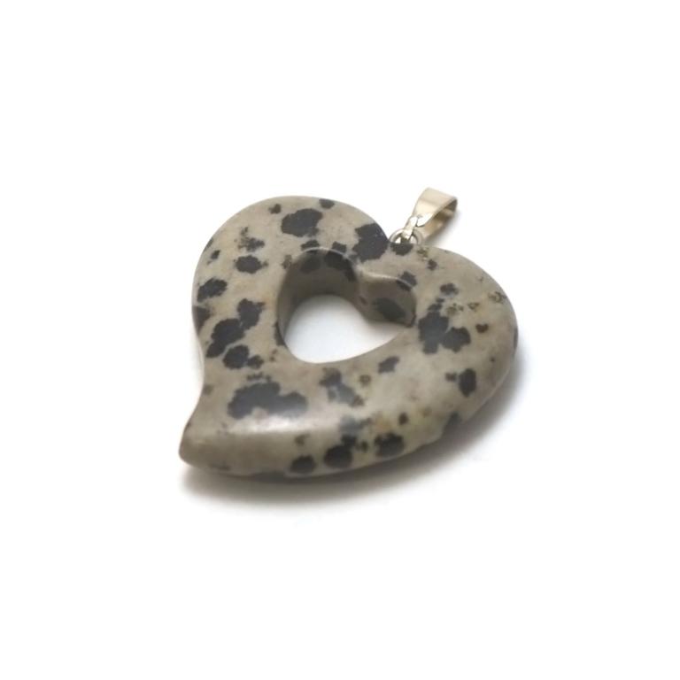 1 pendentif pierre naturelle coeur silhouette 30x30x6 mm, jaspe dalmatien