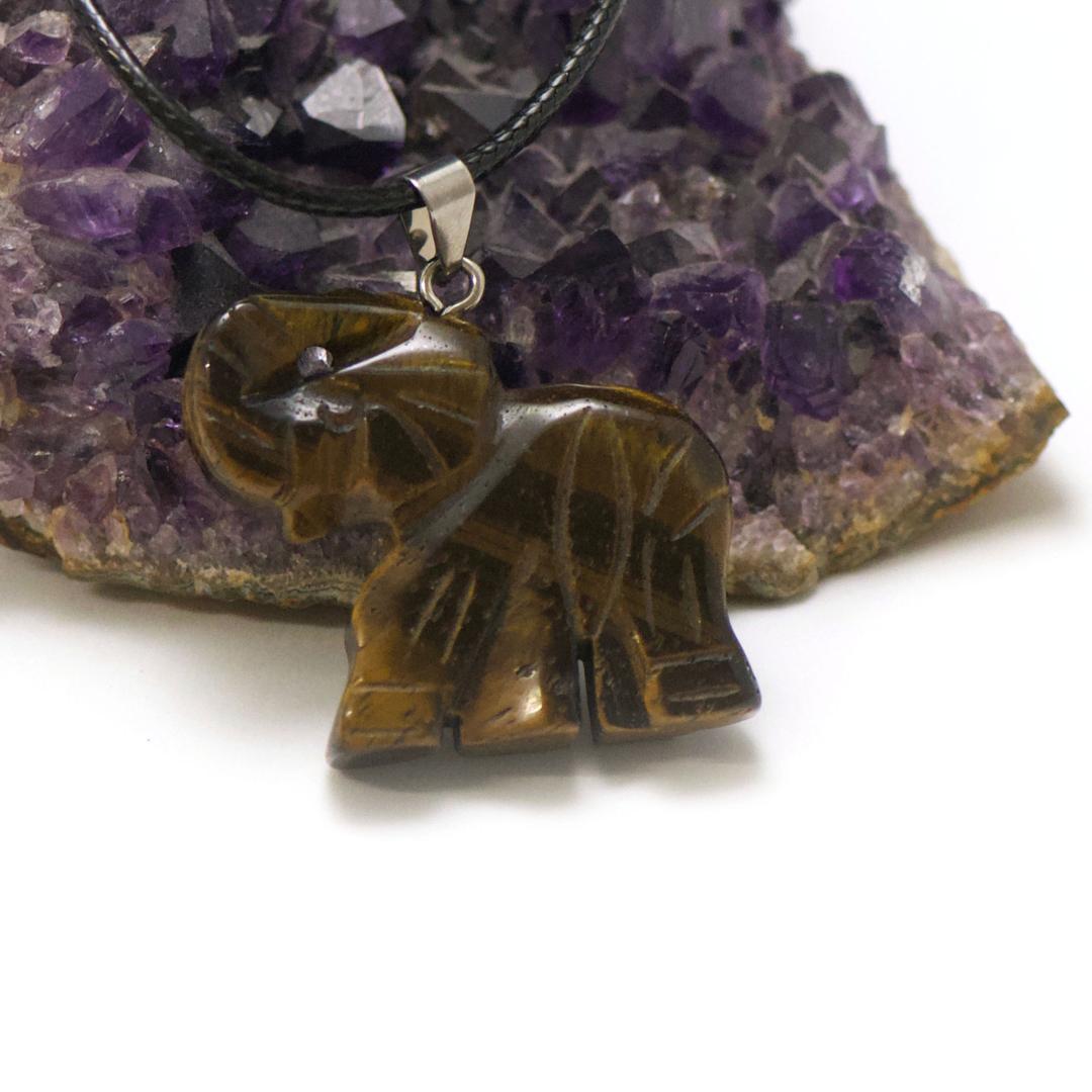 1 pendentif oeil de tigre éléphant 40x32 mm, pierre minéraux naturelle
