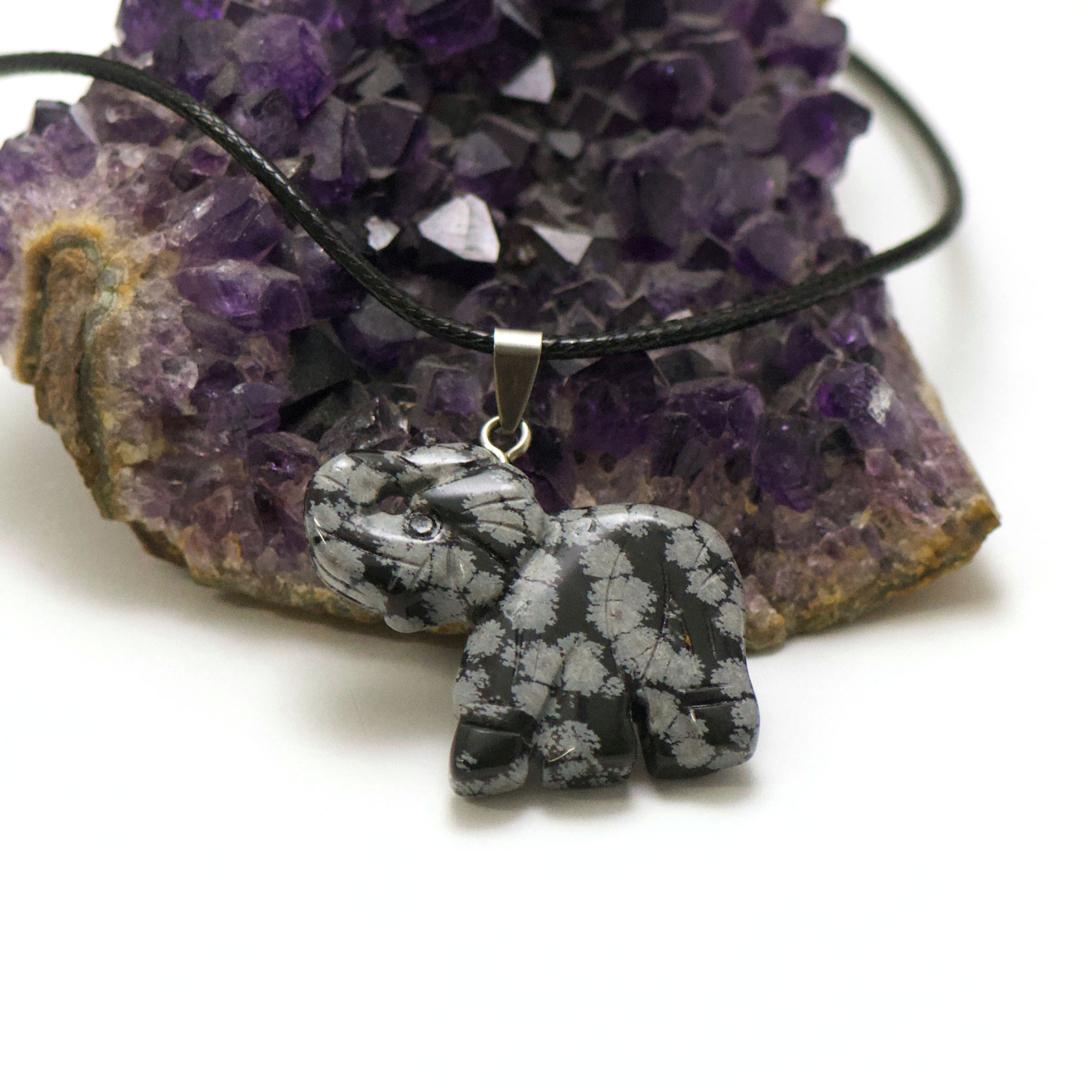 1 pendentif obsidienne neige éléphant 40x32 mm, pierre minéraux naturelle