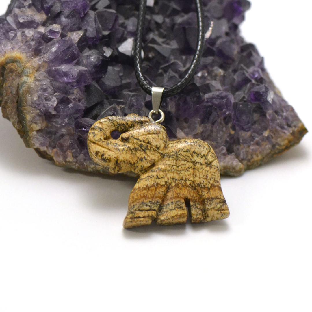 1 pendentif jaspe paysage éléphant 40x32 mm, pierre minéraux naturelle