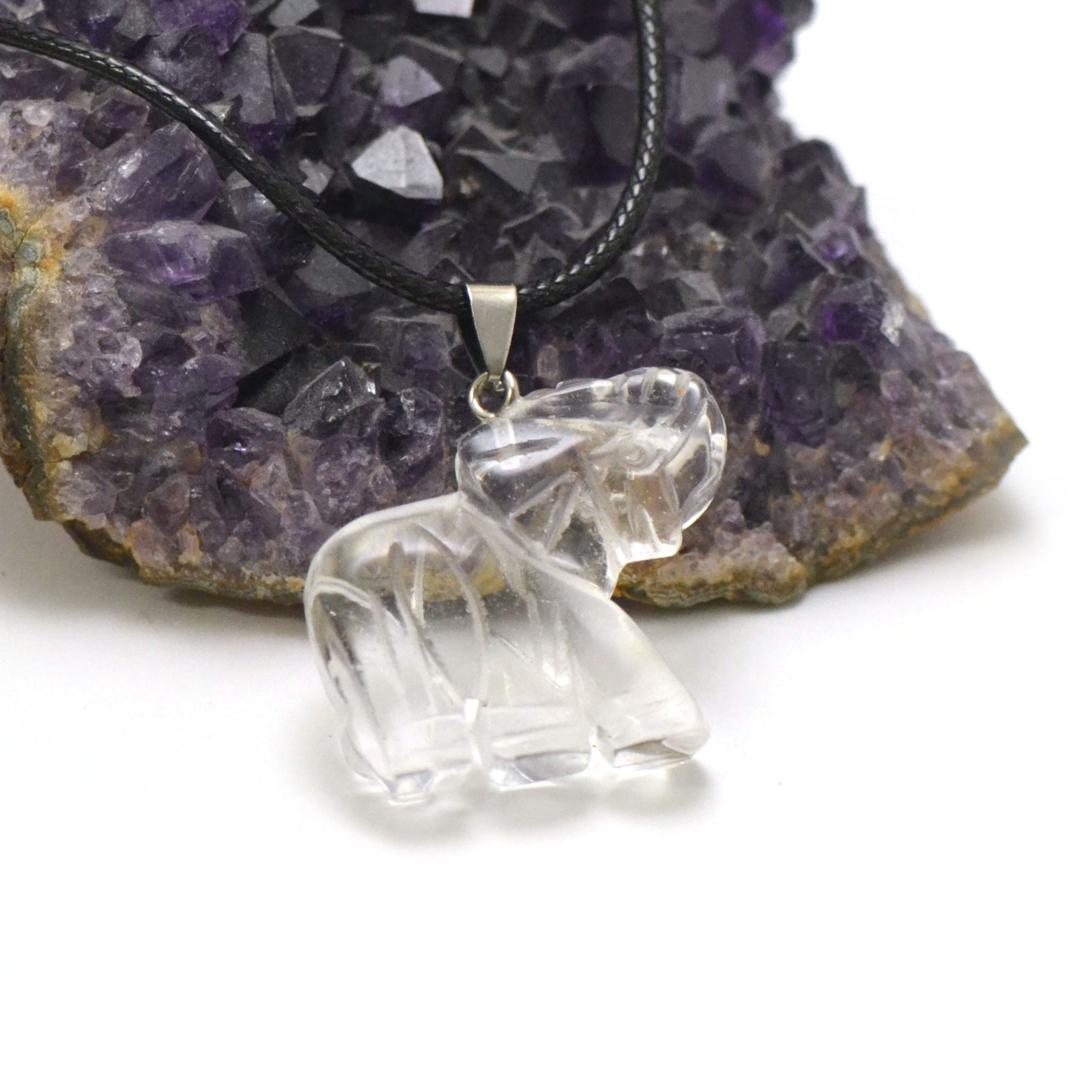 1 pendentif cristal de roche éléphant 40x32 mm, pierre minéraux naturelle