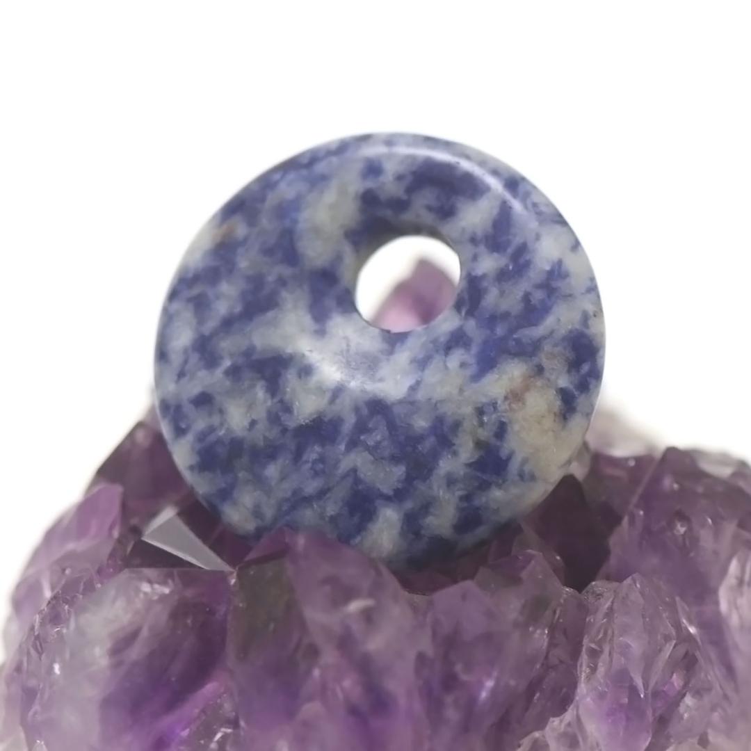 1 pendentif sodalite donuts décentré 30 mm, pierre naturelle