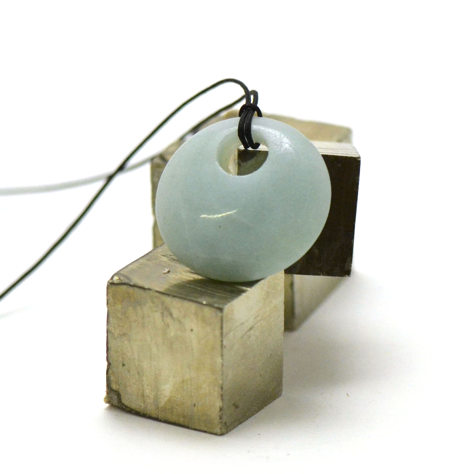 1 pendentif amazonite donuts décentré 30 mm, pierre naturelle