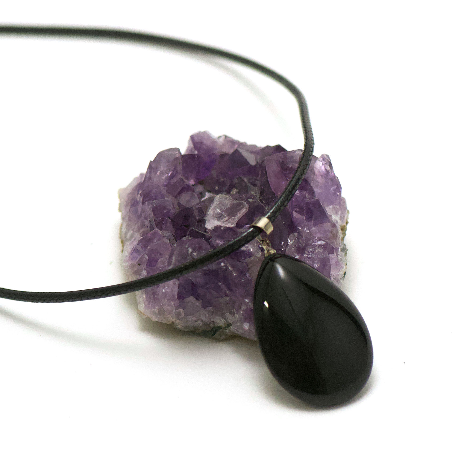 1 pendentif onyx goutte plat 37x23 mm, pierre naturelle