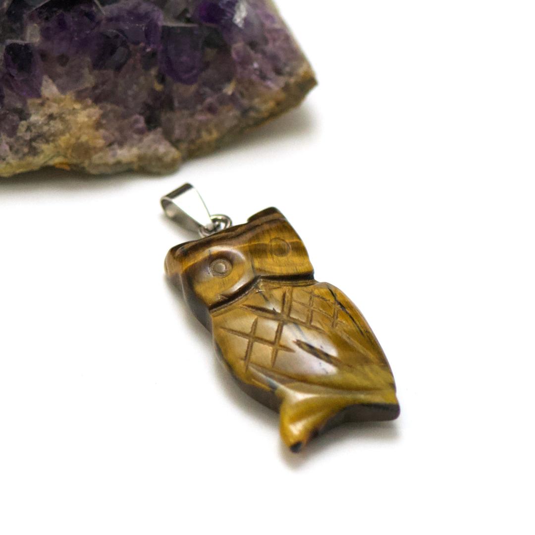 1 pendentif oeil de tigre hiboux 40x20 mm, pierre minéraux naturelle
