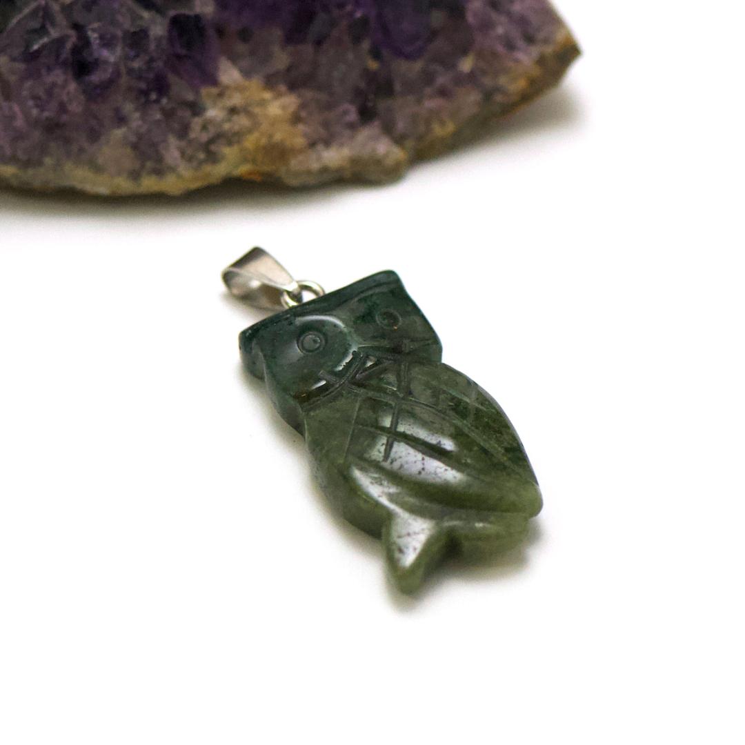 1 pendentif agate mousse hiboux 40x20 mm, pierre minéraux naturelle