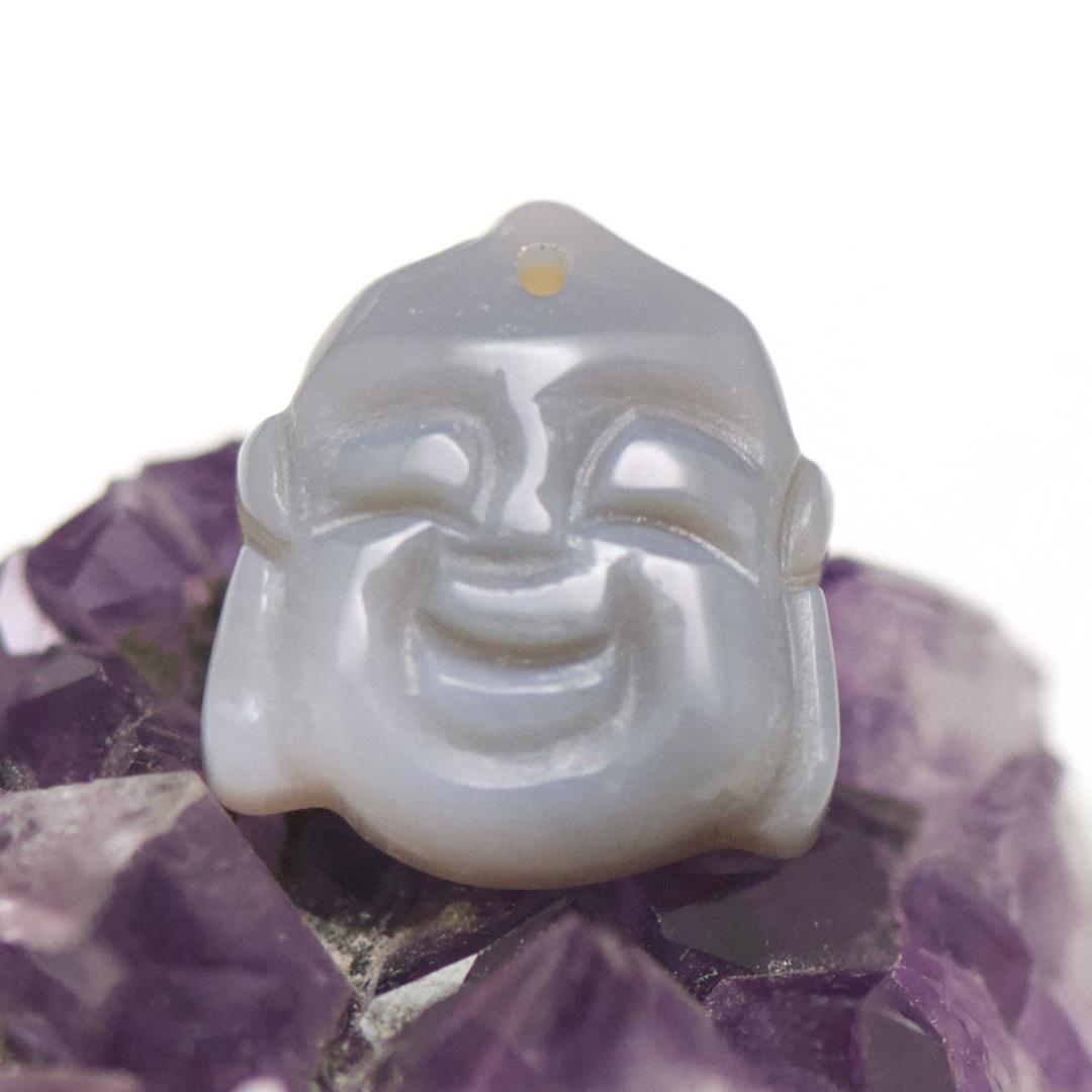 1 pendentif pierre naturelle tête de bouddha 21x21x6 mm, agate