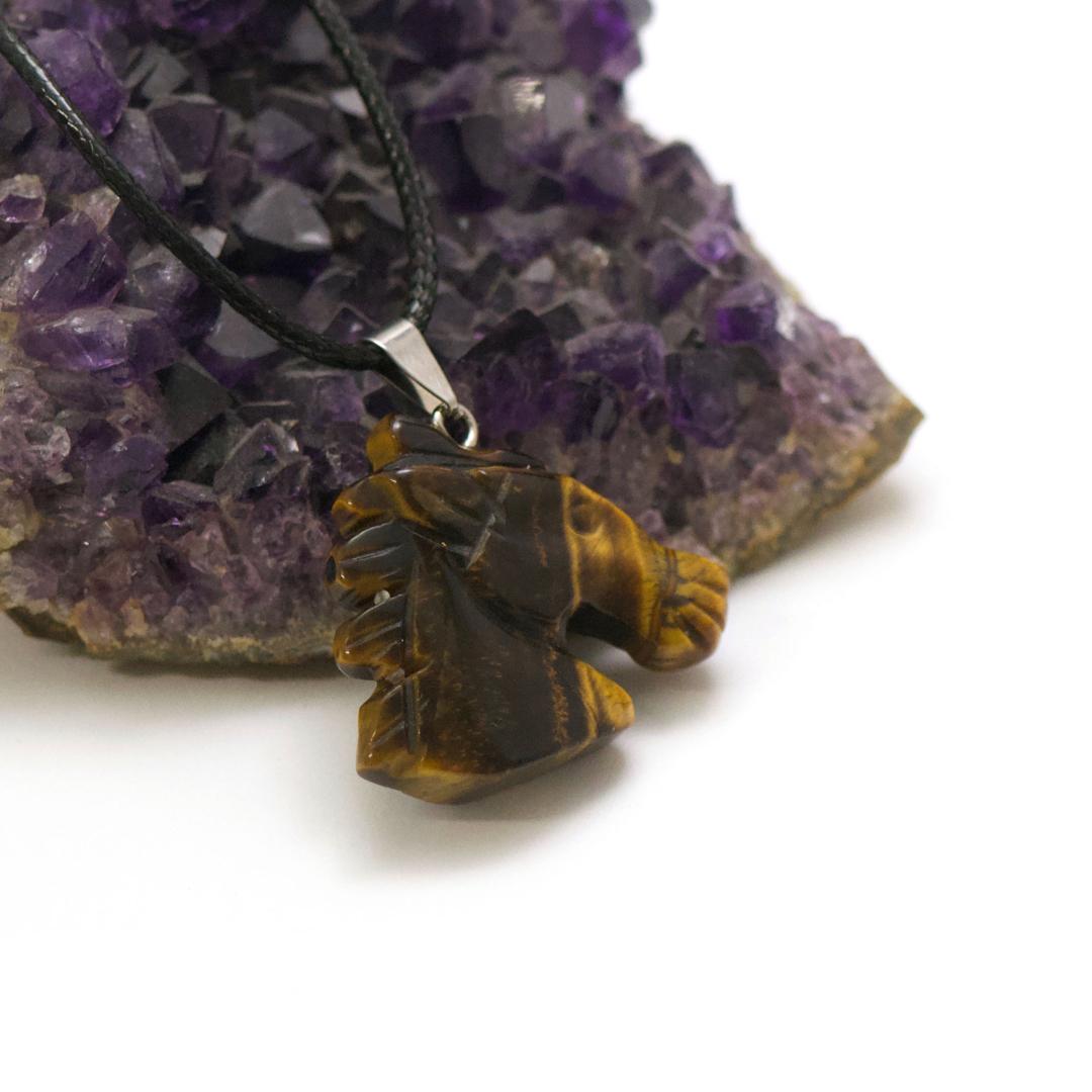 1 pendentif oeil de tigre tête de cheval 38x38x8 mm, pierre naturelle