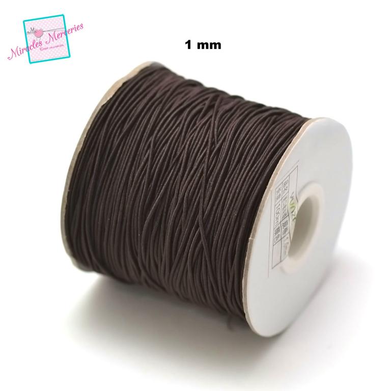5 m de fil élastique tissé (1 mm) ,marron
