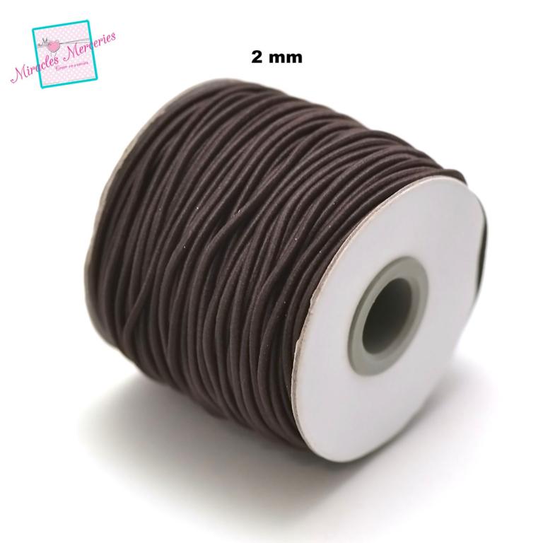 5 m de fil élastique tissé (2 mm) ,marron