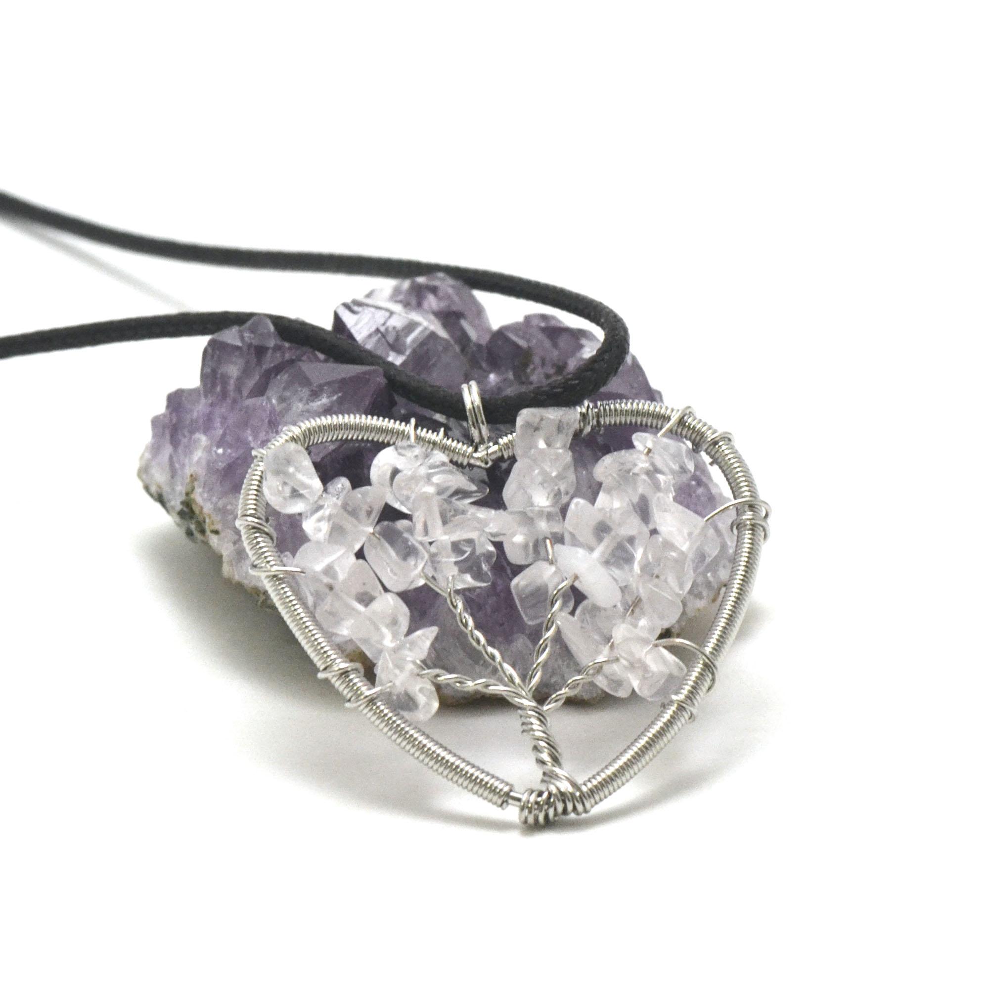 pendentif cristal de roche attrape rêve coeur, pierre naturelle