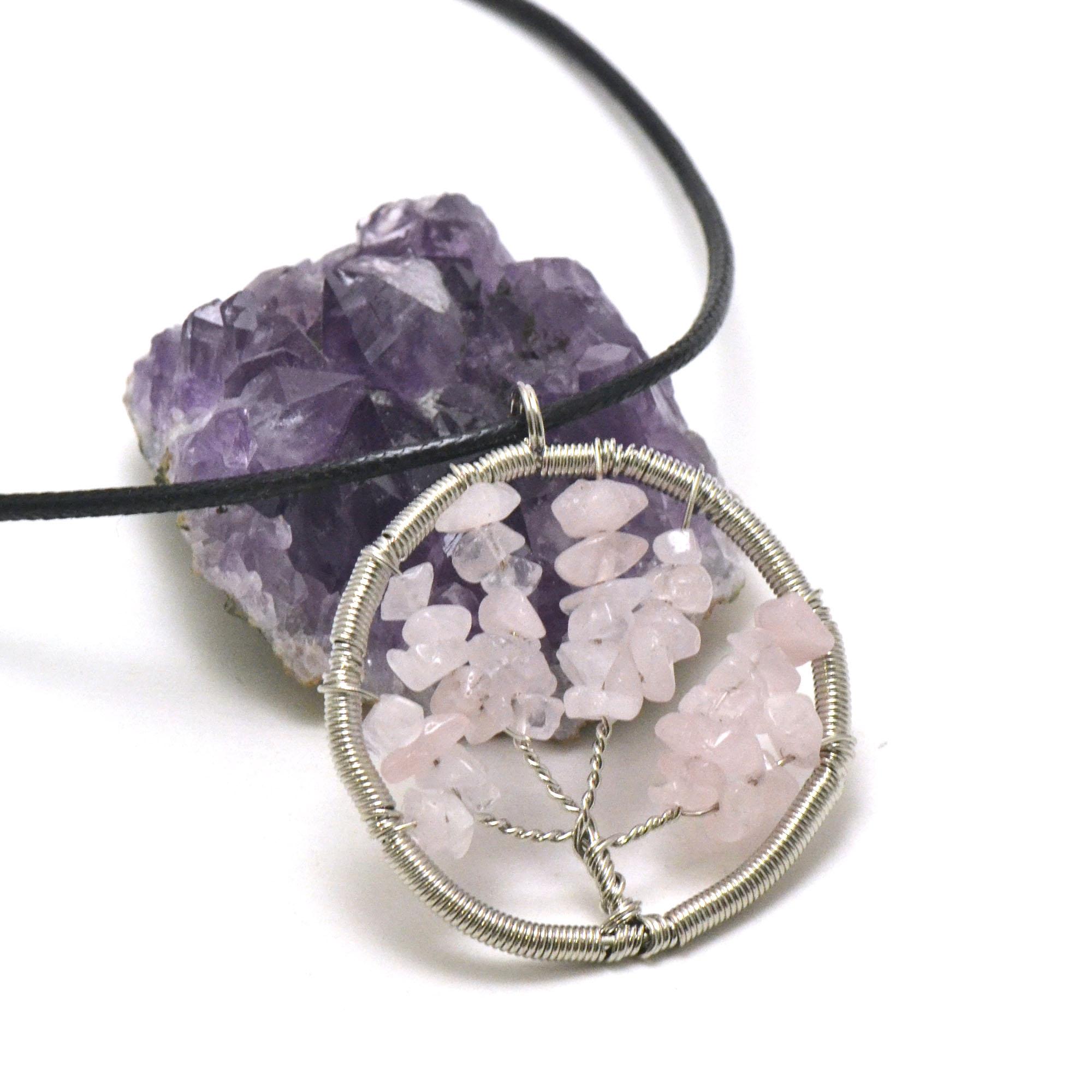 pendentif quartz rose attrape rêve ronde, pierre naturelle