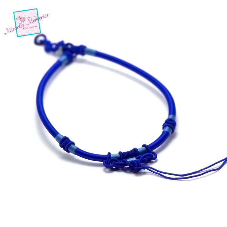 1 magnifique support collier créateur en fil de soie tressé à la main,bleu électrique