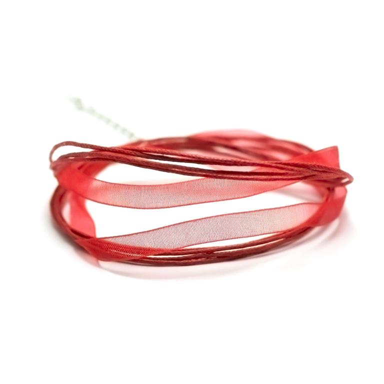 4 tours de cou en organza et coton 6 mm, rouge