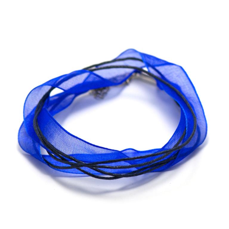 4 tour de cou  en organza 10 mm, bleu électrique