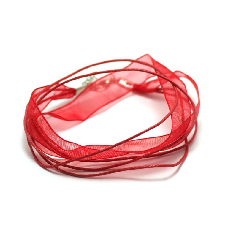 4 tour de cou en organza 10 mm, rouge