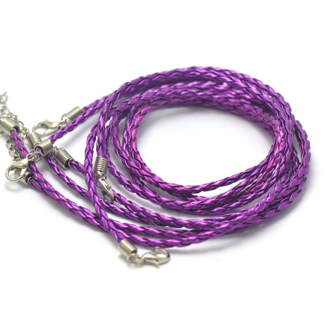 4 tours de cou en simili-cuir tressé 3 mm, violet brillant