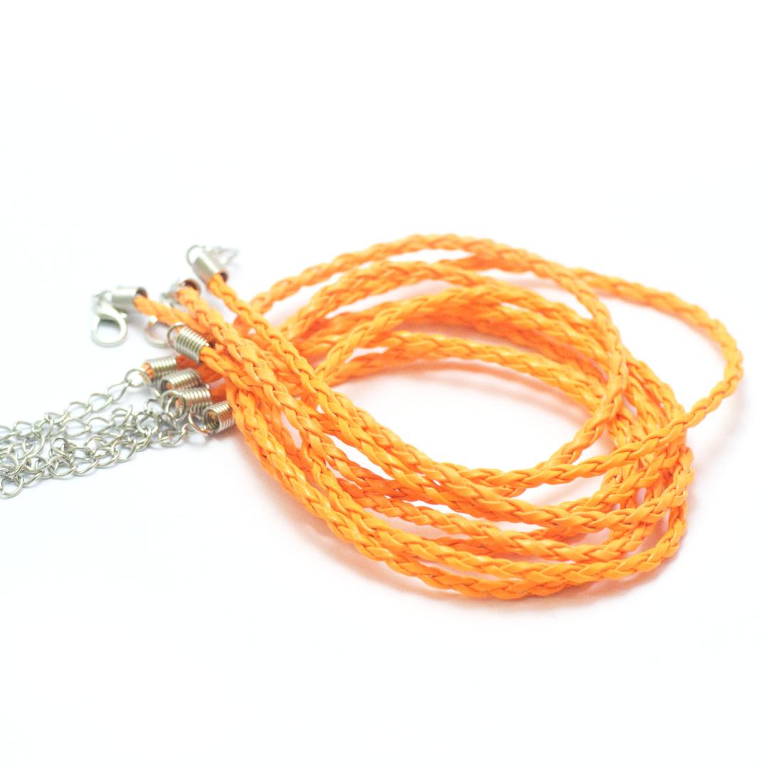 4 tours de cou en simili-cuir tressé 3 mm, orange