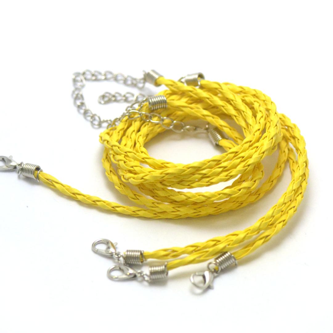 4 tours de cou en simili-cuir tressé 3 mm, jaune