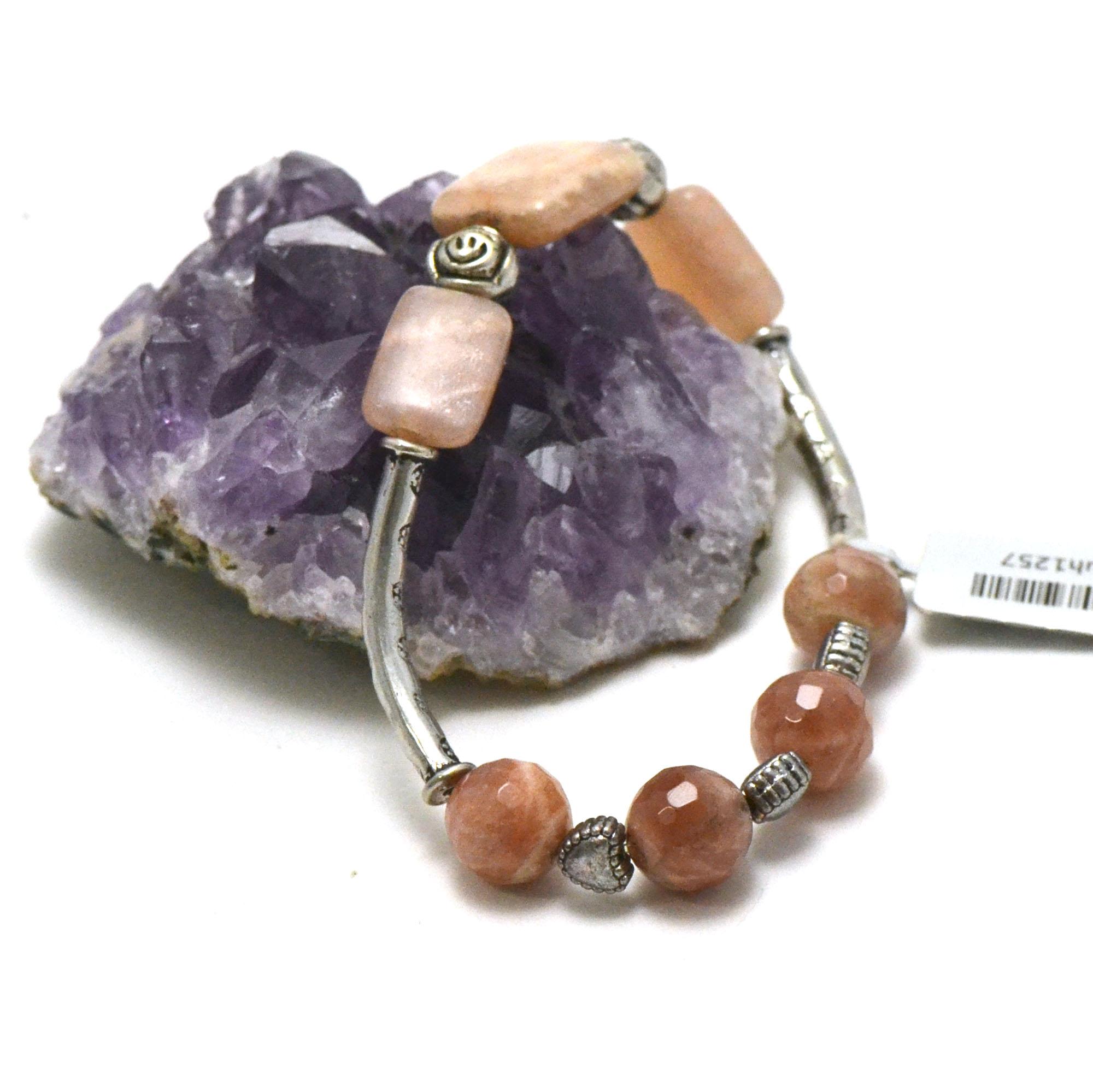 Bracelet pierre de soleil , apprêt double arc