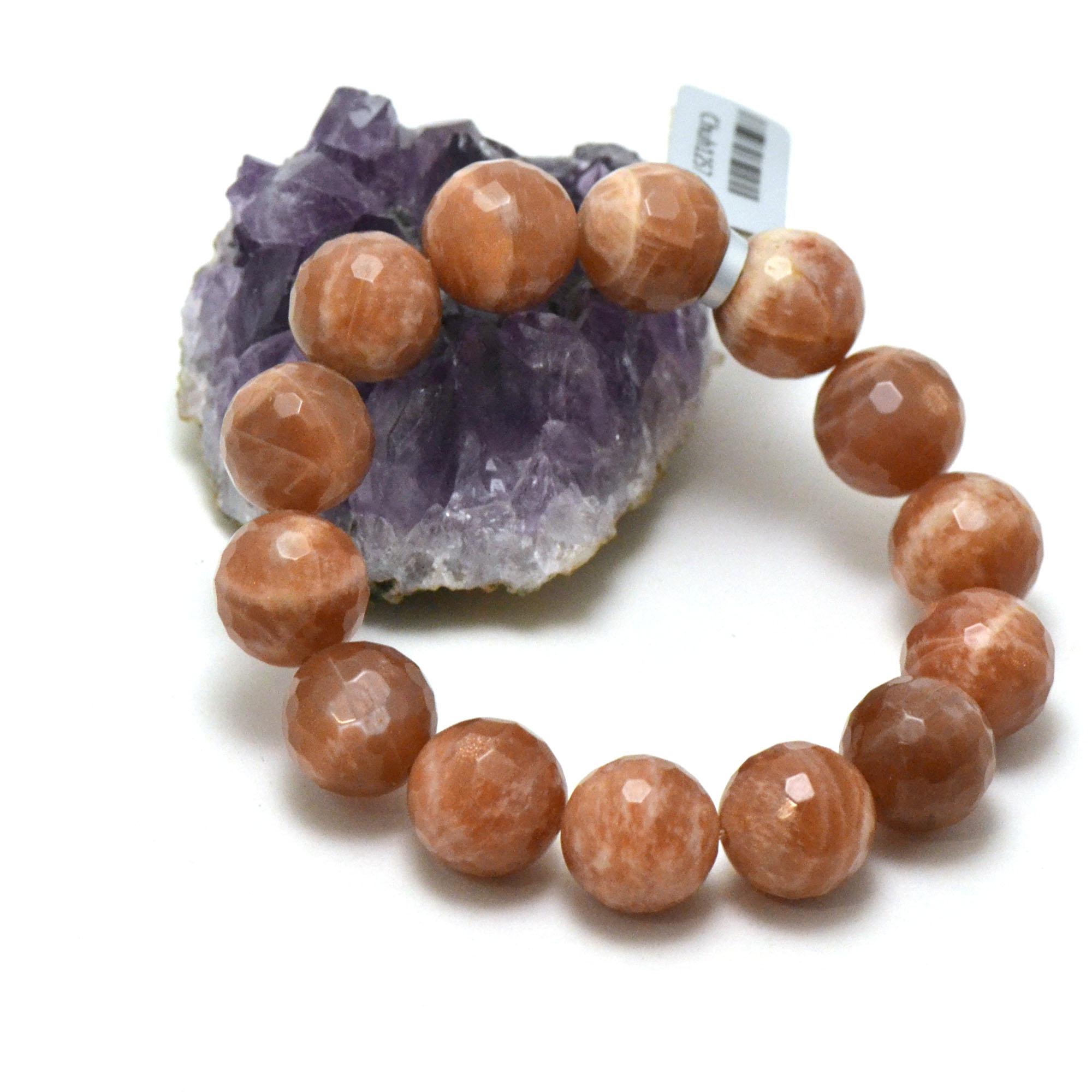 Bracelet pierre de soleil ronde facettée 14 mm