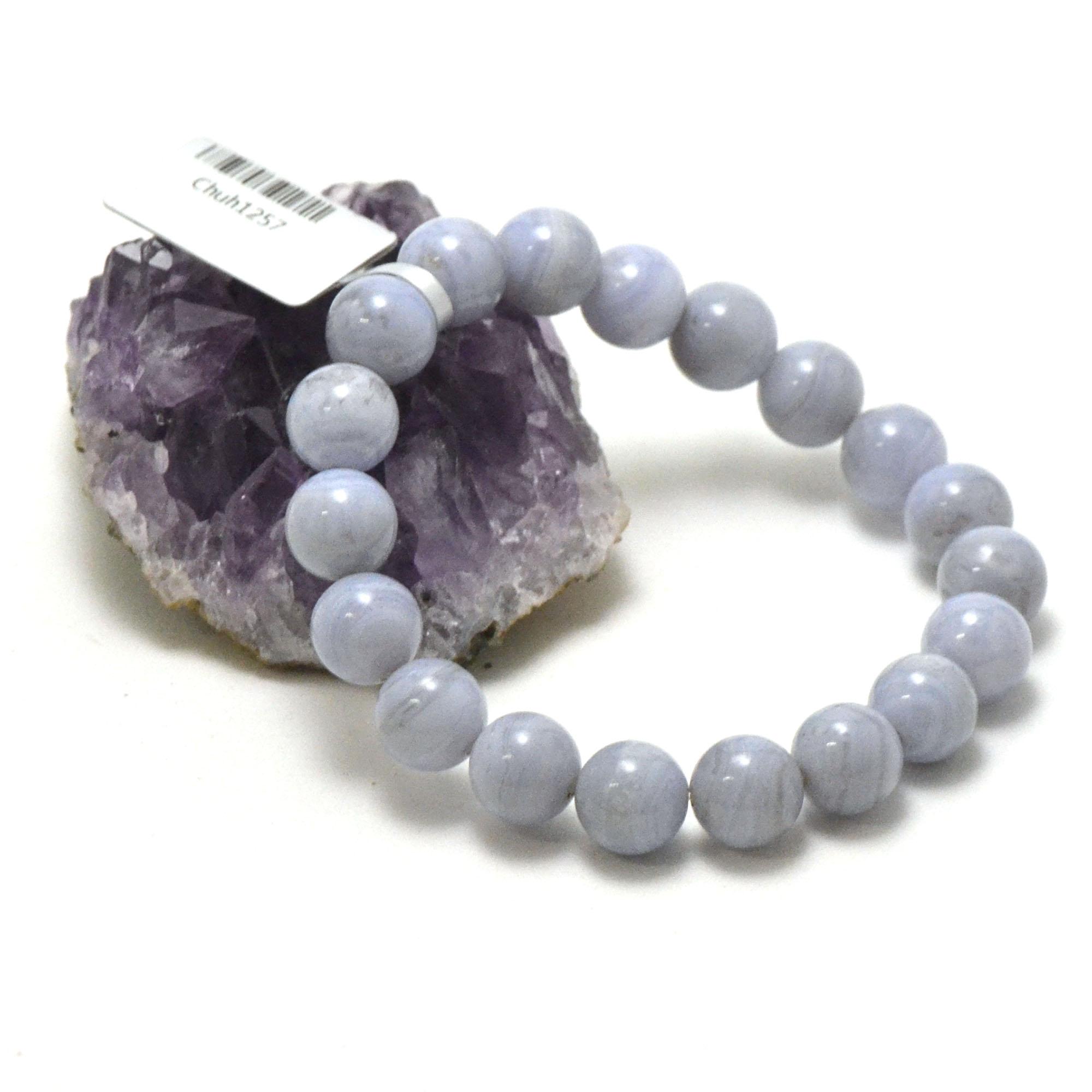 Bracelet calcédoine bleue, perle ronde 10 mm, veinées