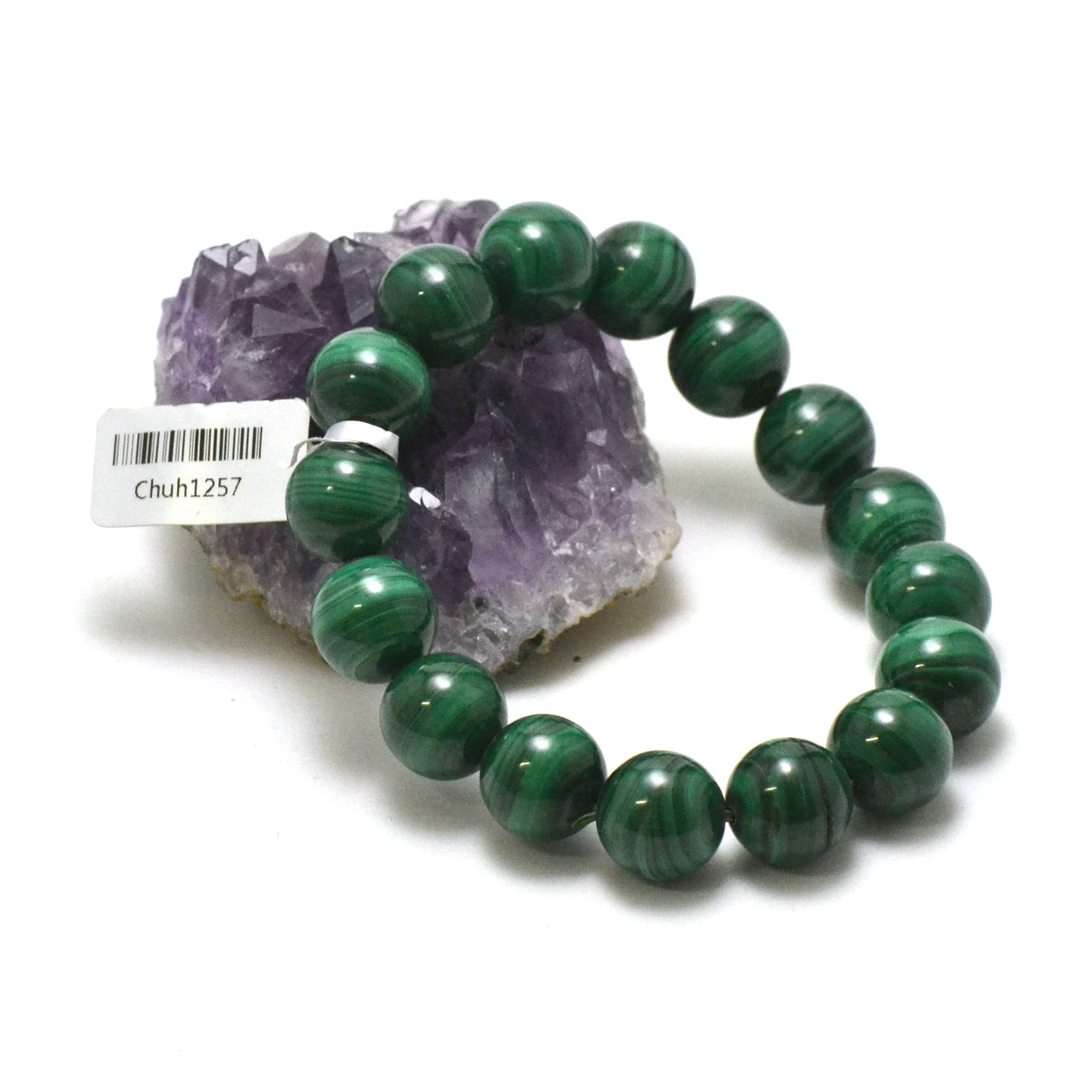 bracelet malachite perle ronde 12 mm