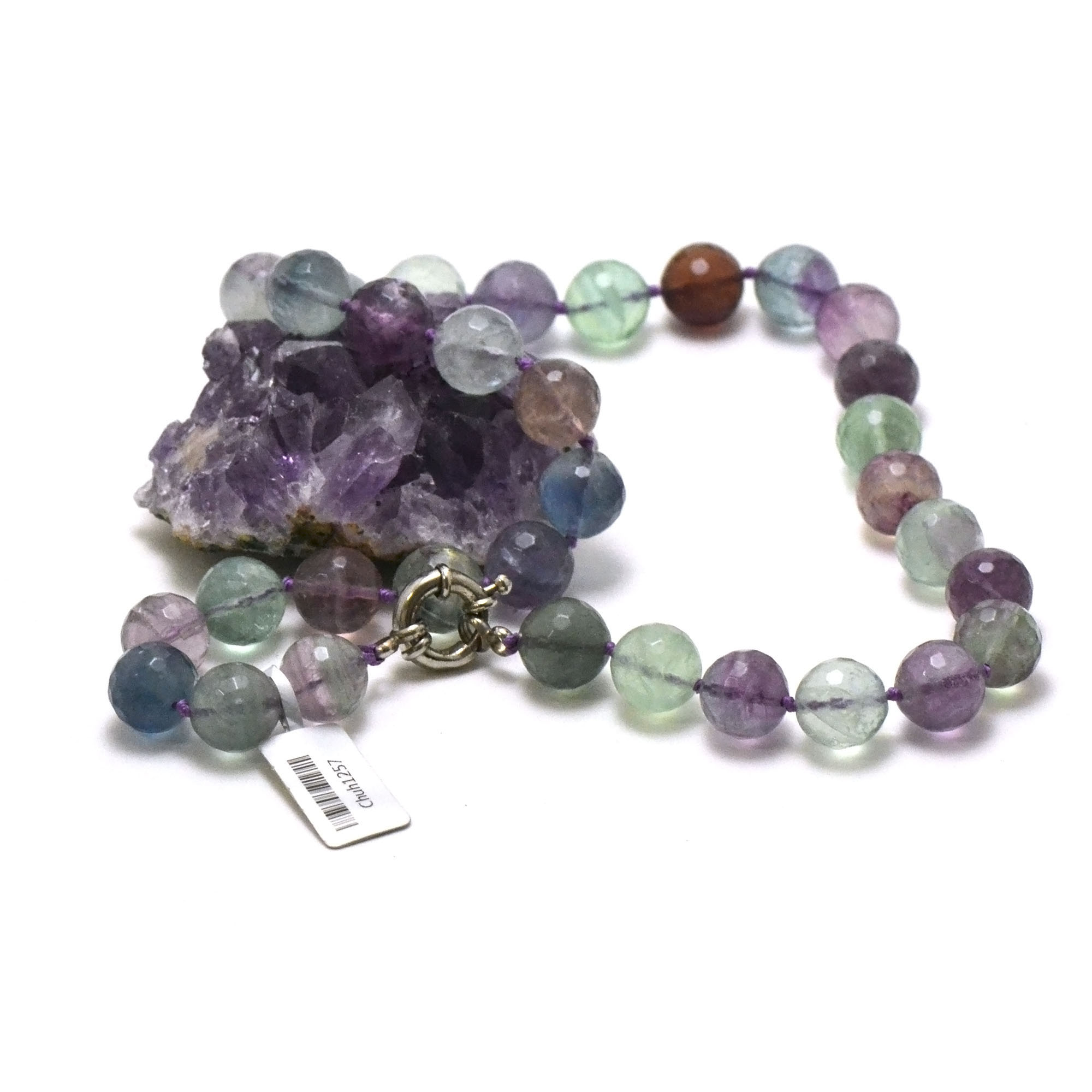 Collier fluorite, perle ronde facettée 12 mm