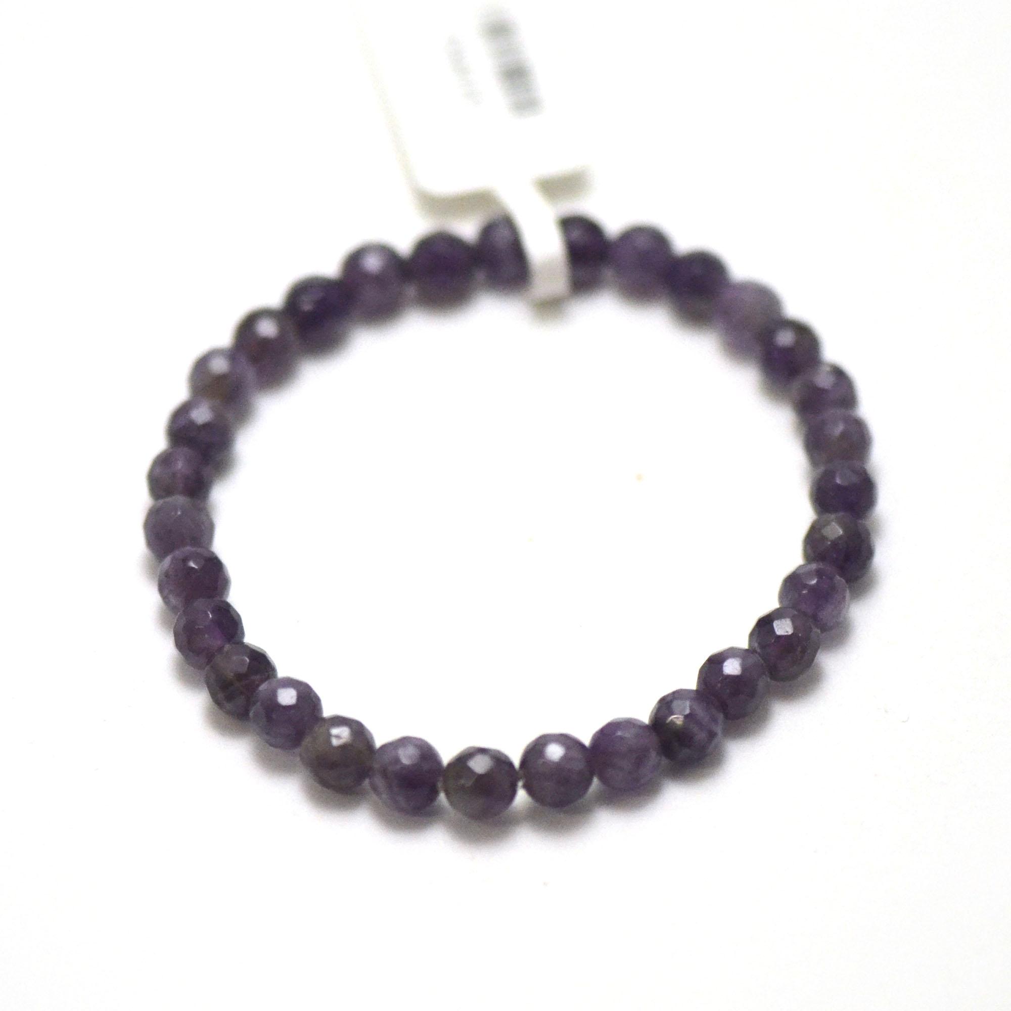 bracelet améthyste ronde facettée 6 mm