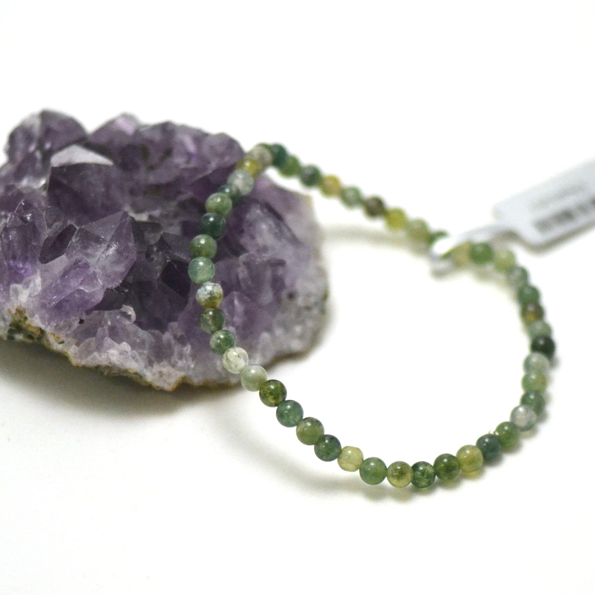 bracelet agate mousse, perle ronde 4 mm