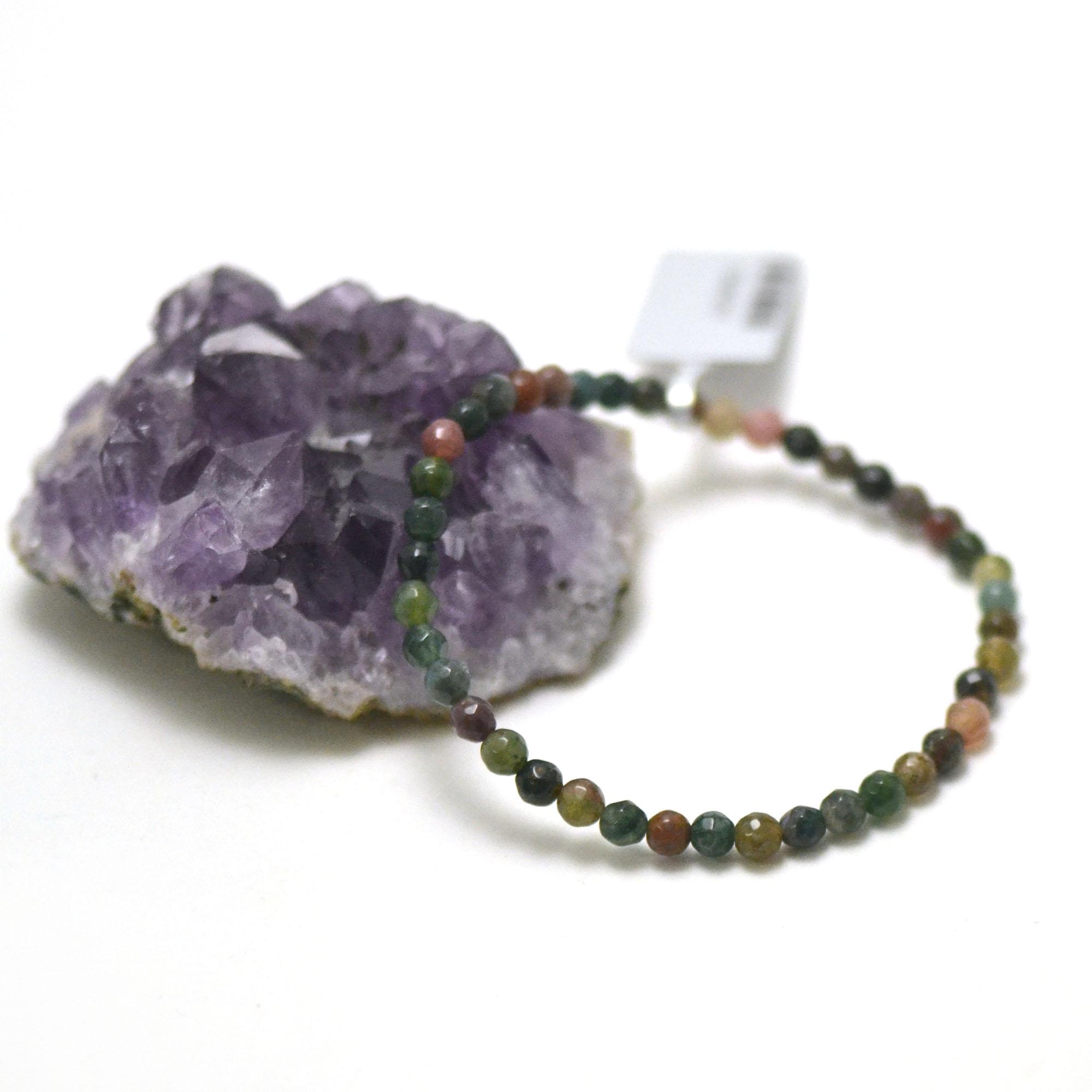 bracelet agate mousse, perle ronde facettée 4 mm