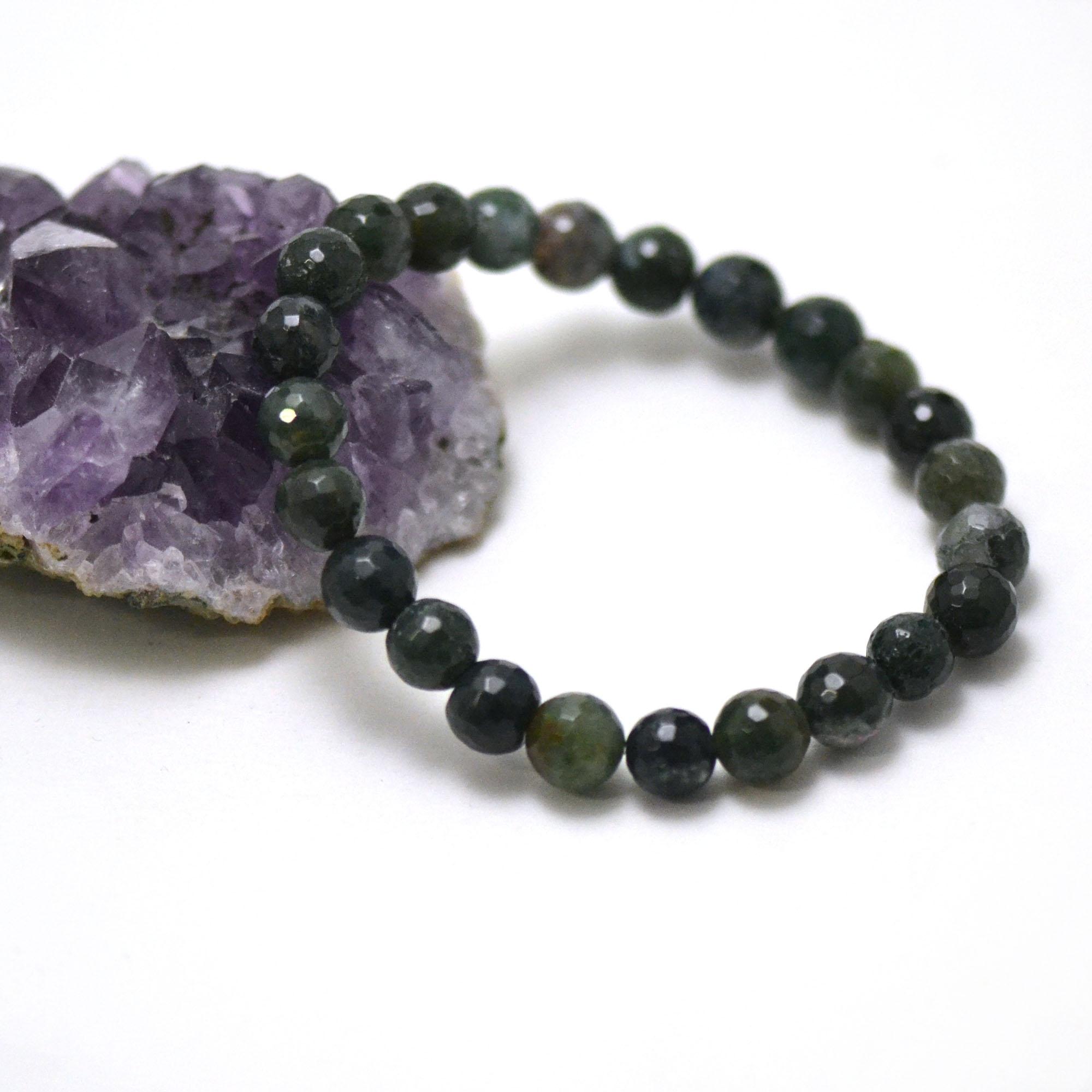 bracelet agate mousse, perle ronde facettée 8 mm
