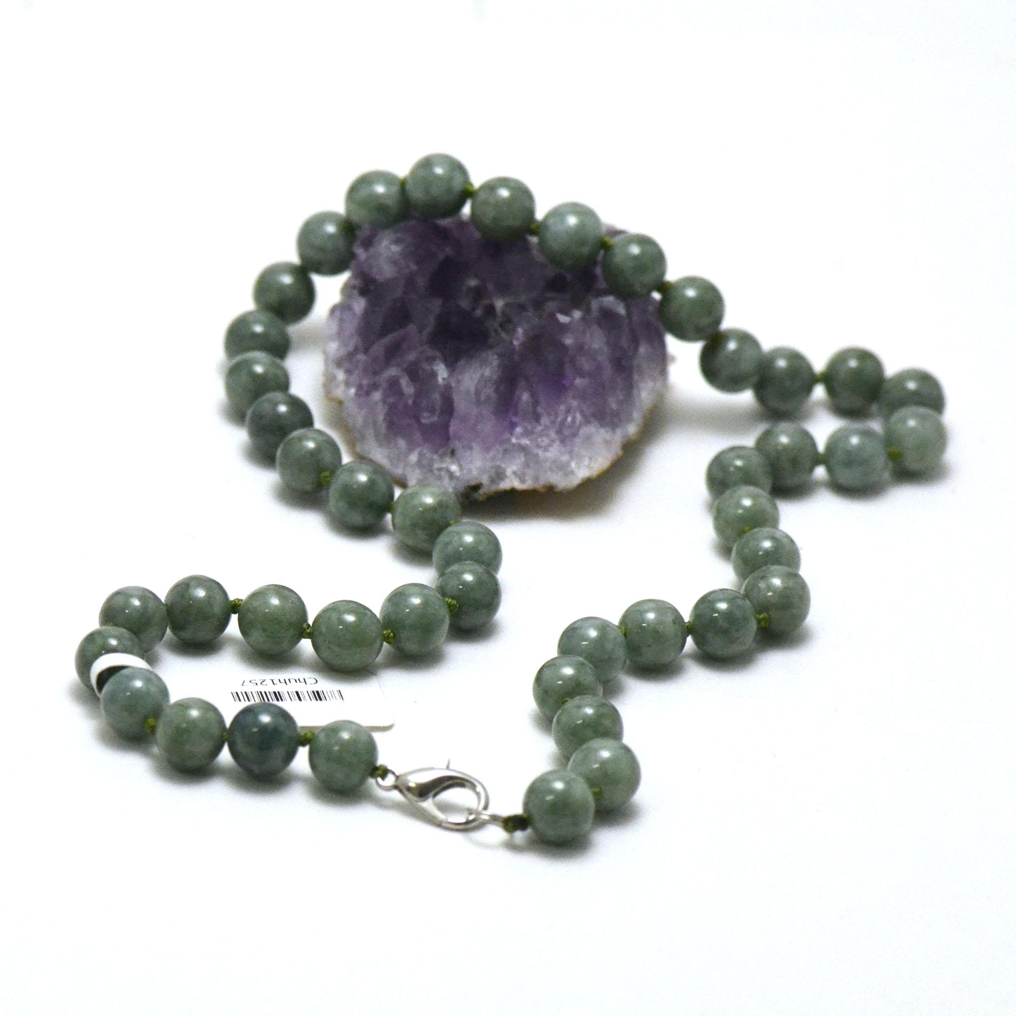 collier jade vert marbré, perle ronde 10 mm