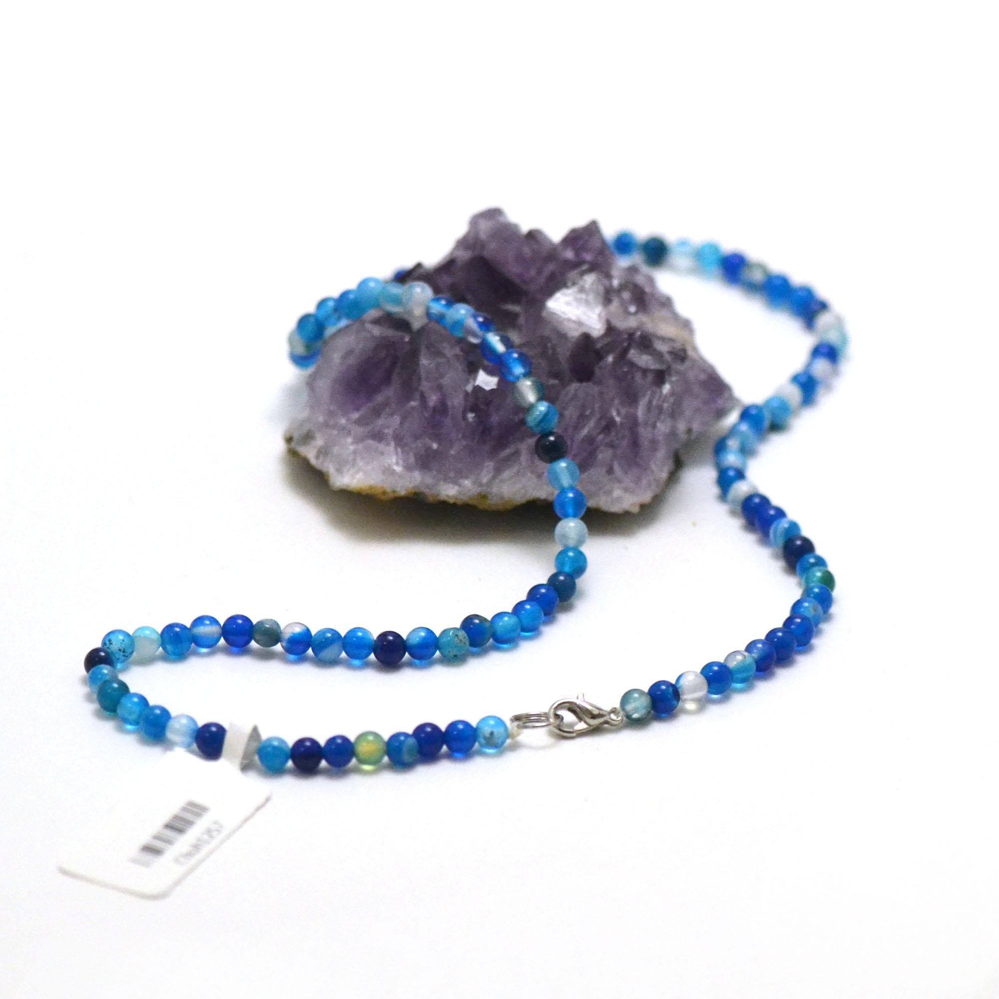 collier agate teinté bleu ronde 4 mm
