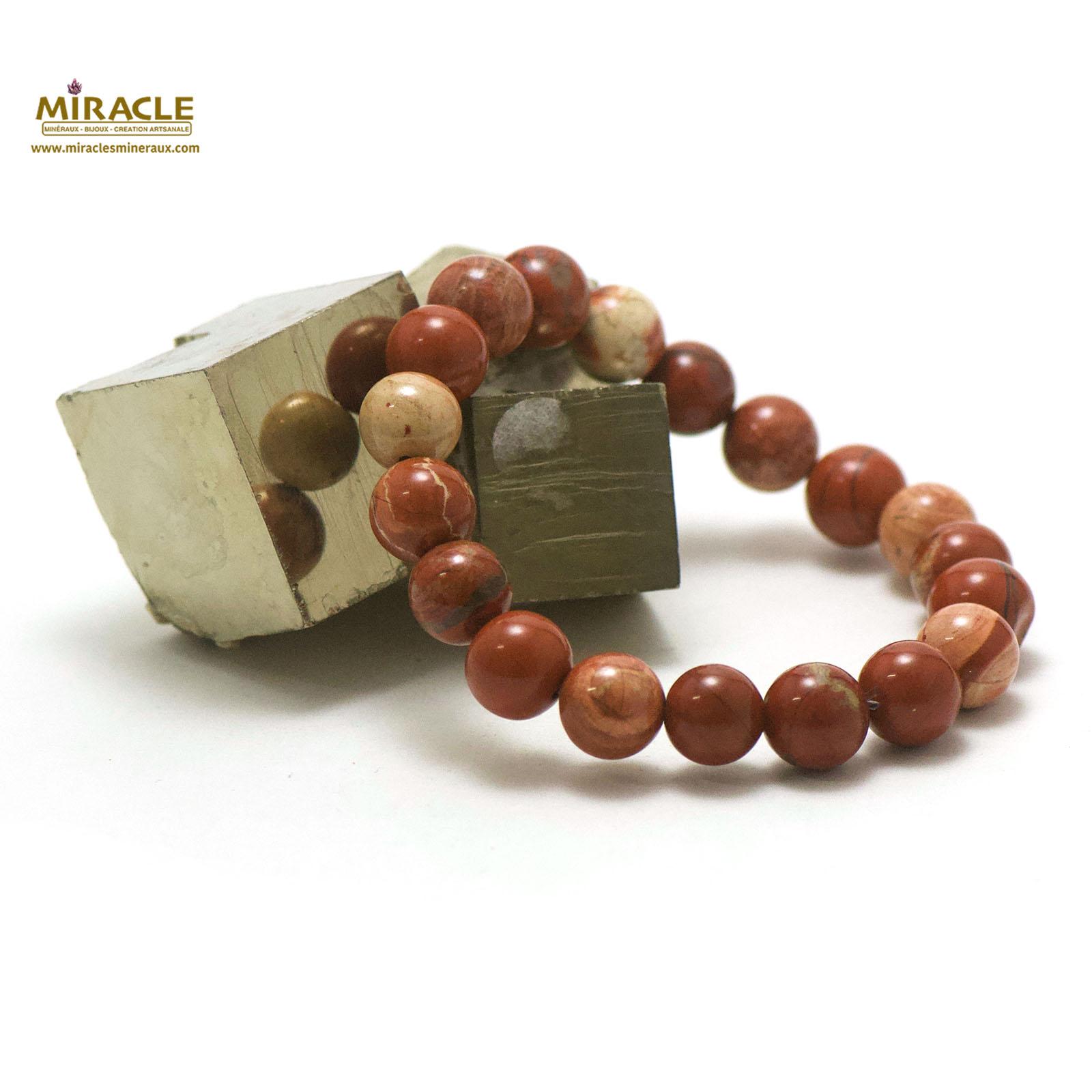 bracelet jaspe rouge, perle ronde 10 mm