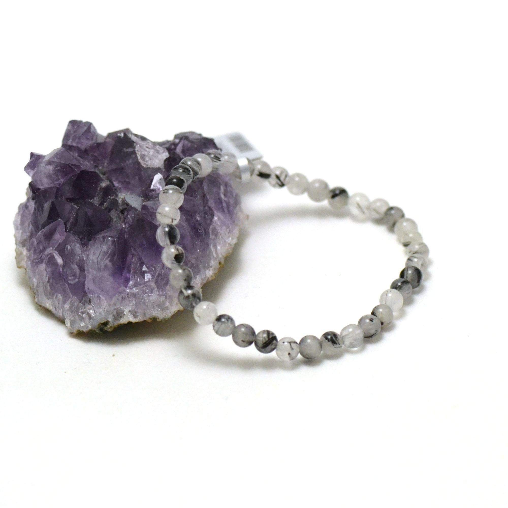 bracelet quartz tourmaline ronde 4 mm
