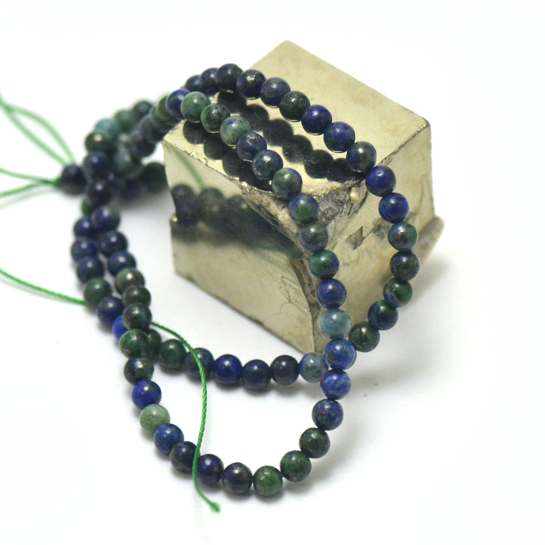 fil de 39 cm perles d\' Azurite-malachite ronde 4 mm