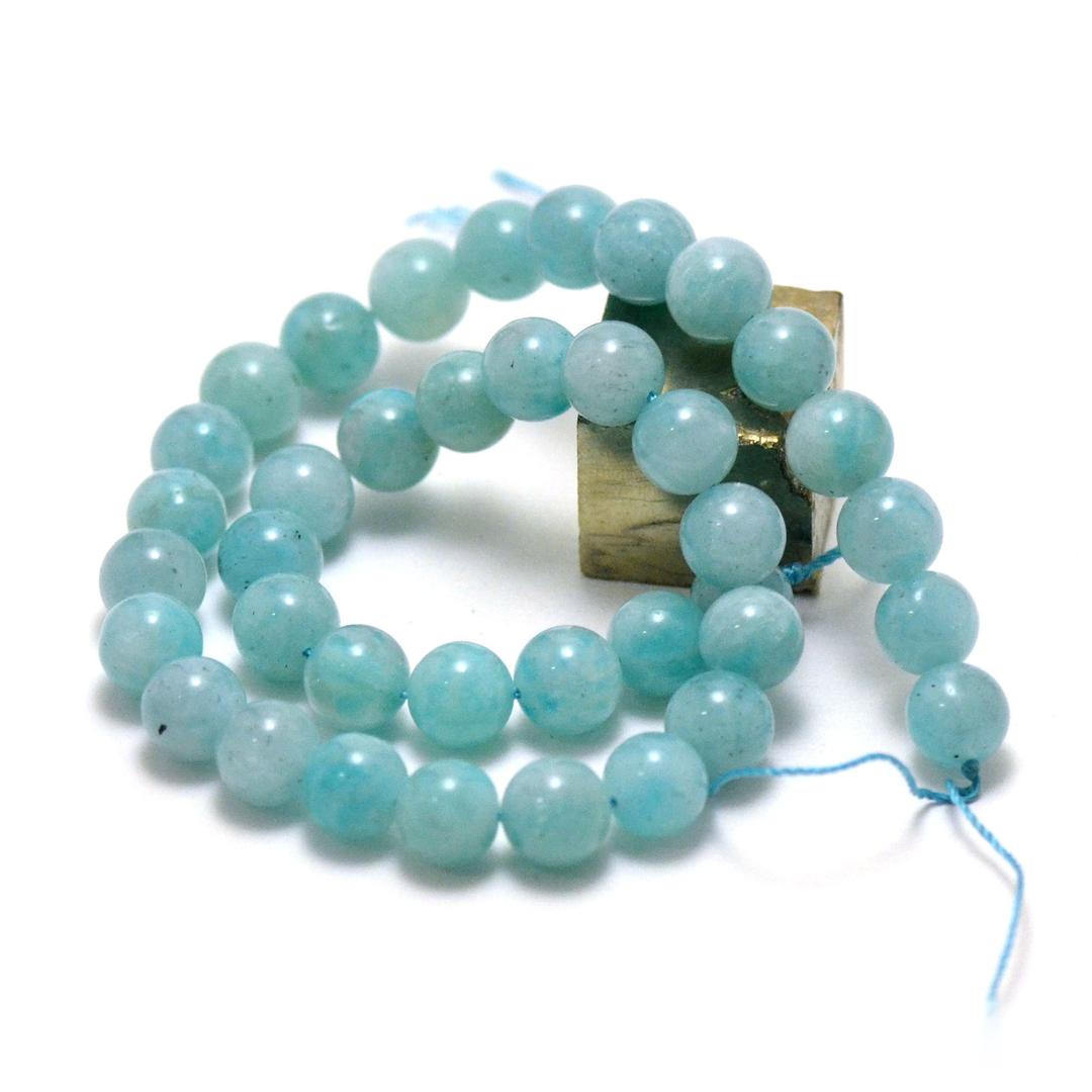 fil de 39 cm env 39 perles d\'Amazonite qualité AA  ronde 10 mm, de Pérou
