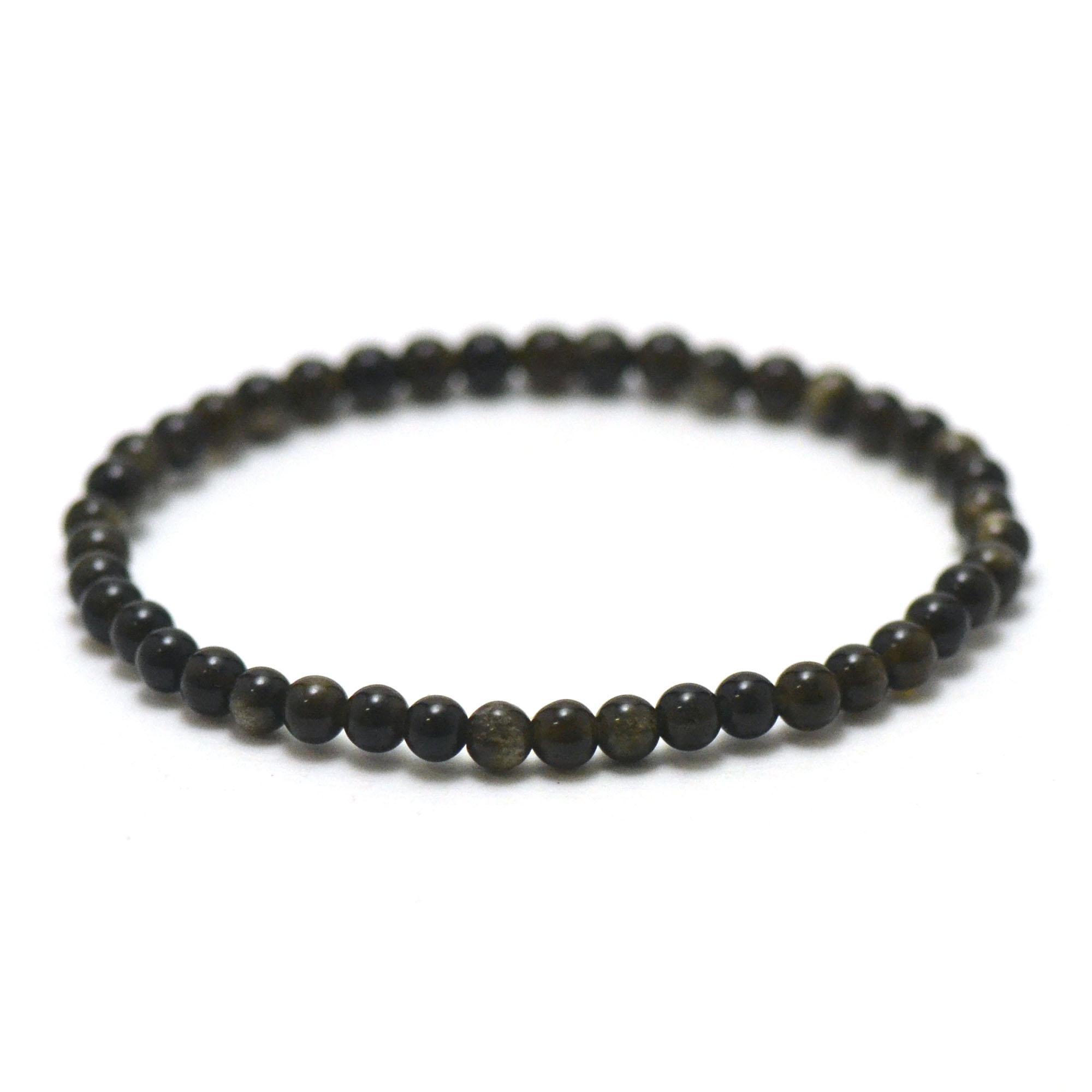 Bracelet obsidienne doré, perle ronde 4 mm
