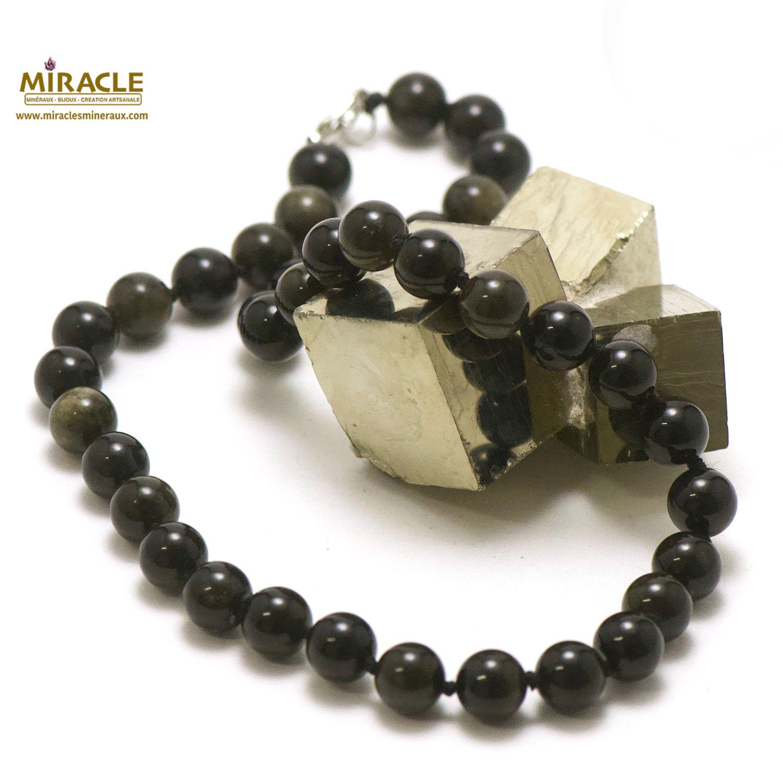 Collier obsidienne noir, perle ronde 10 mm