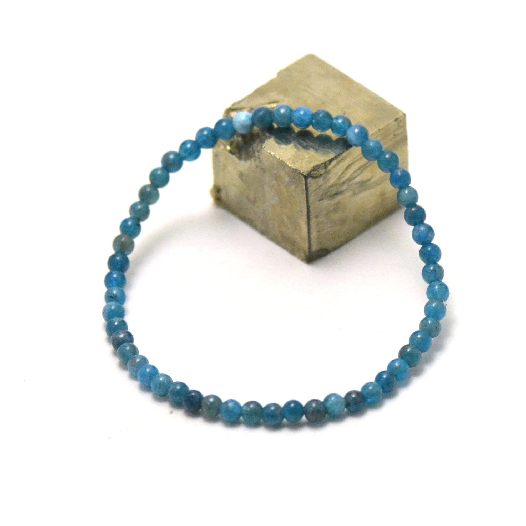 bracelet apatite, perle ronde 3-4 mm