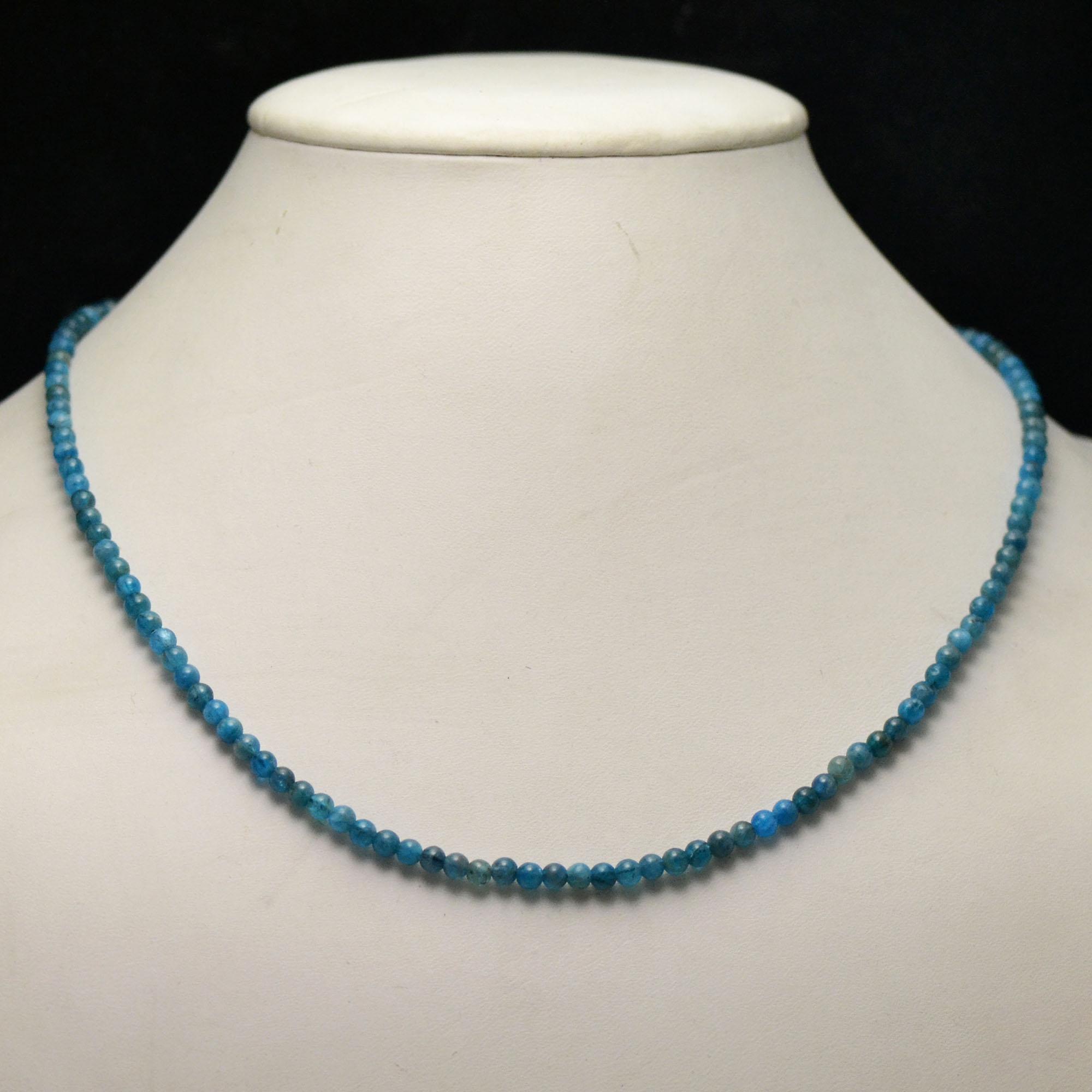 collier en apatite, perle ronde 3-4 mm