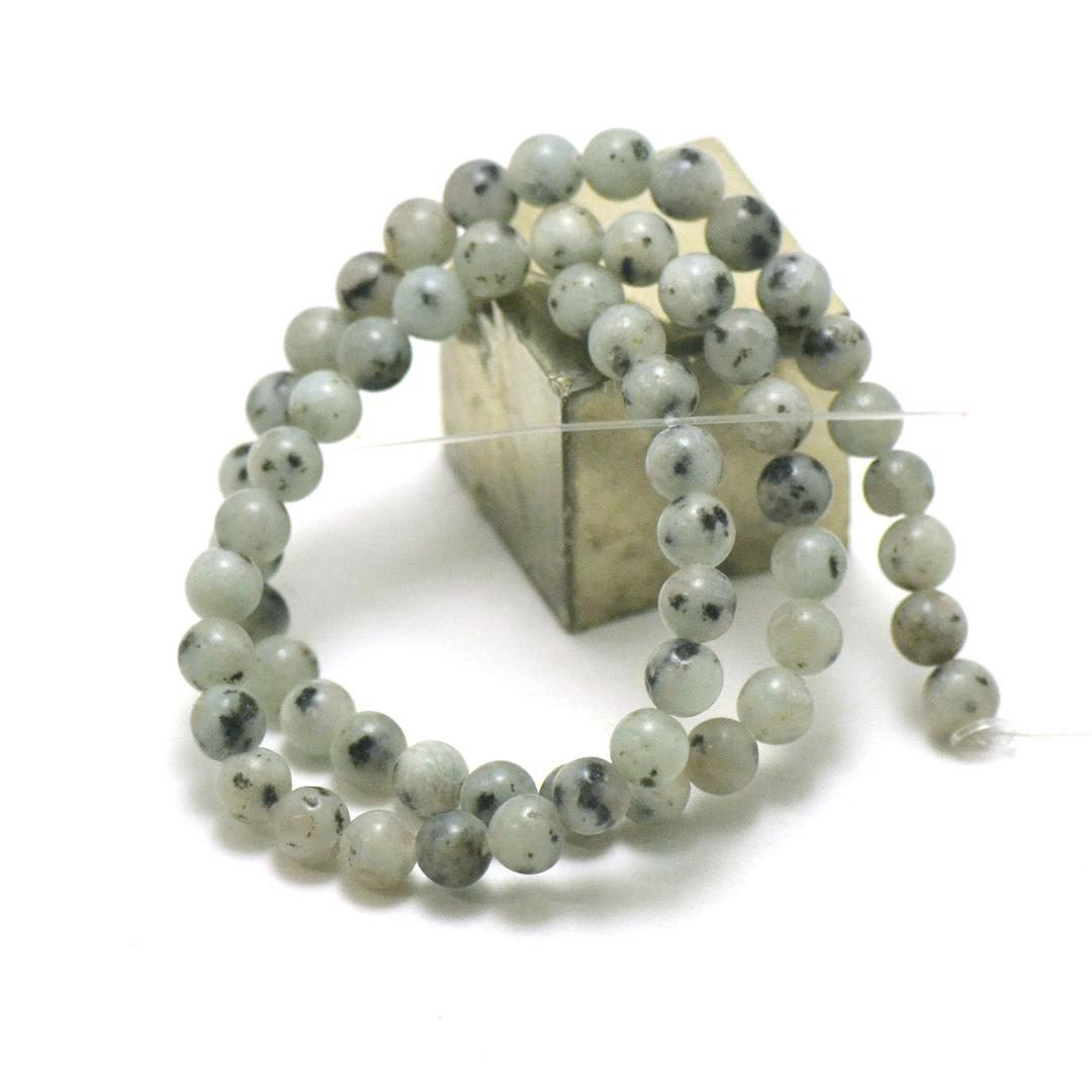 fil 39 cm de perles de Jade néphrite des Andes ronde 6 mm