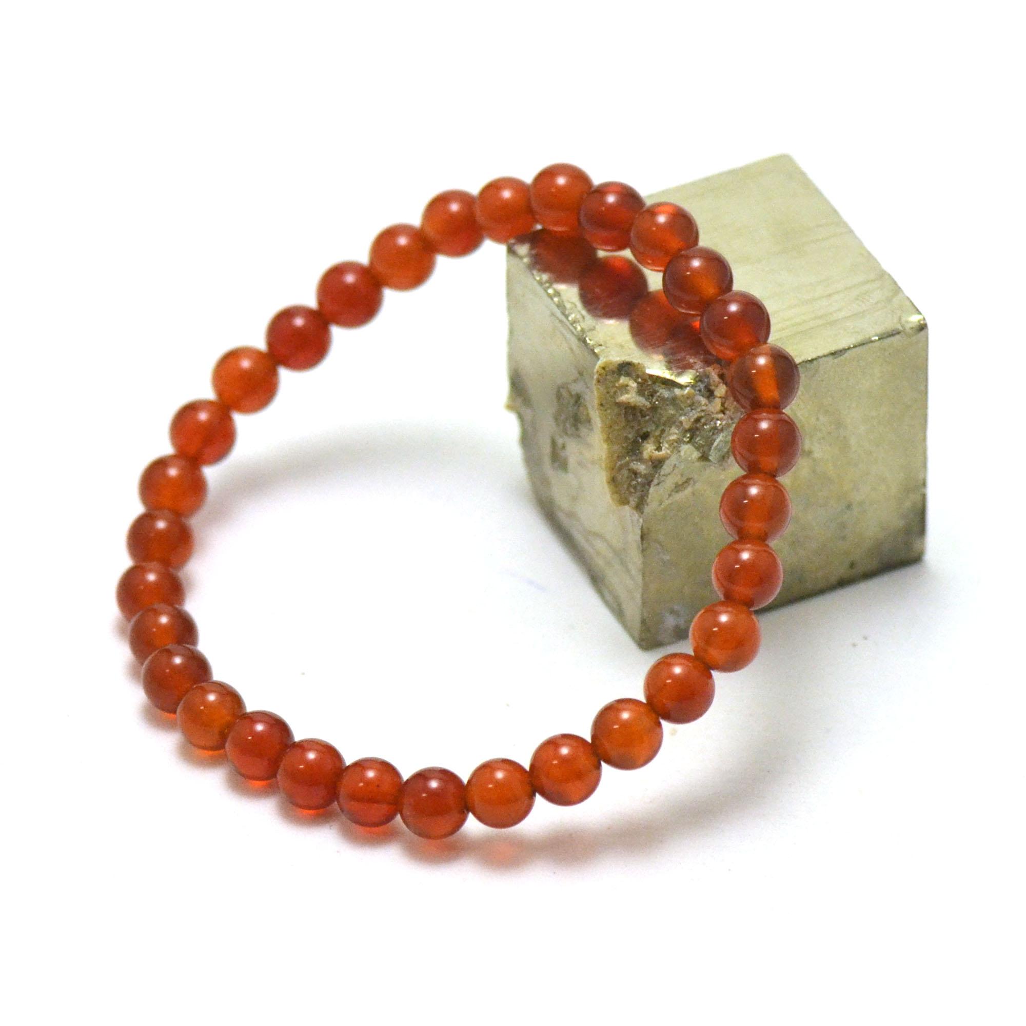 bracelet cornaline ,  perle ronde 6 mm