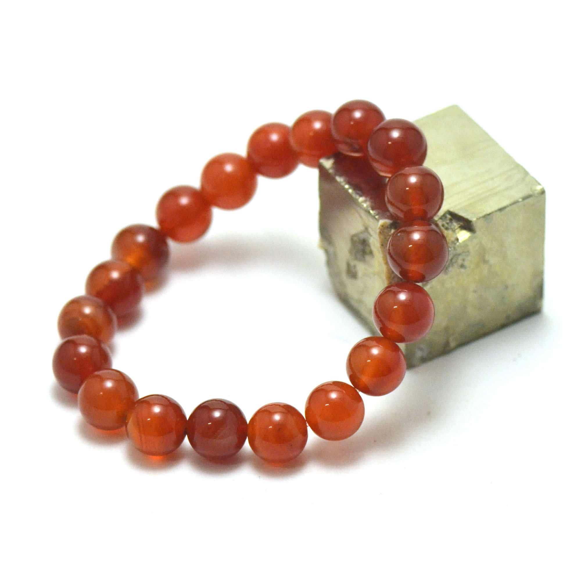 bracelet cornaline, perleronde 10 mm