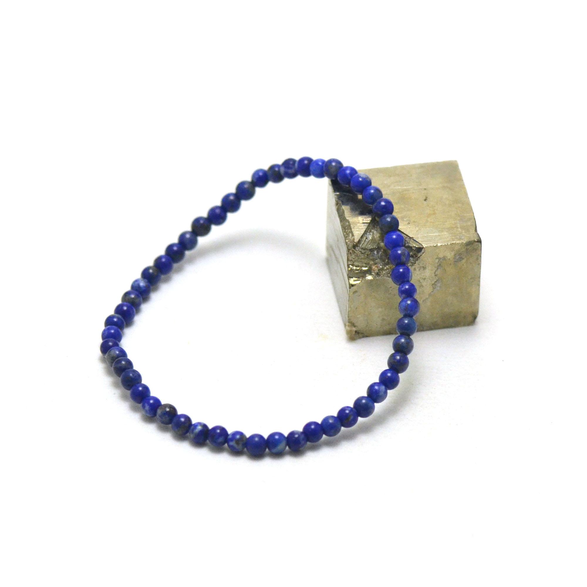 bracelet lapis lazuli , perle ronde 4 mm