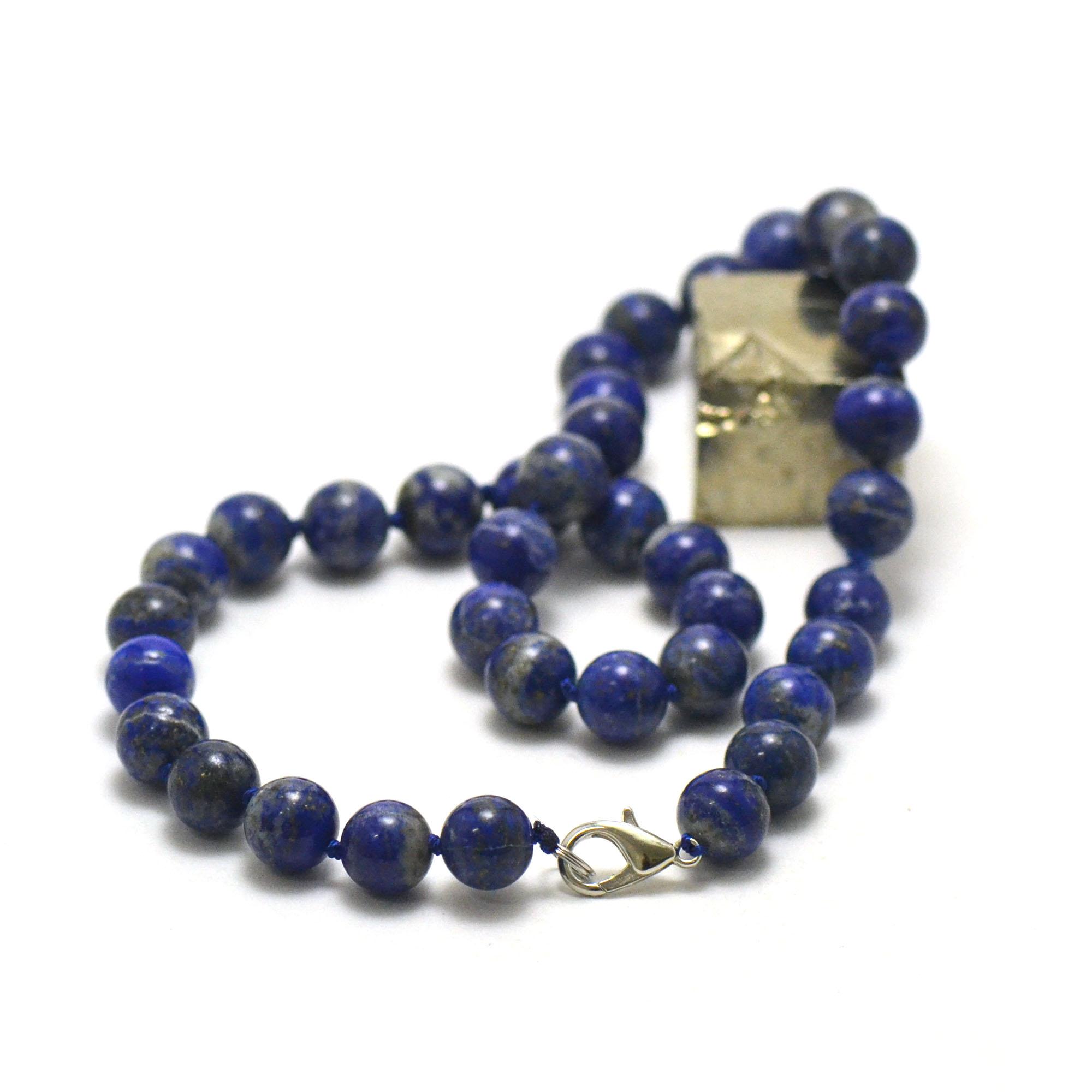 perle ronde 10 mm 1 collier en pierre naturelle de lapis lazuli